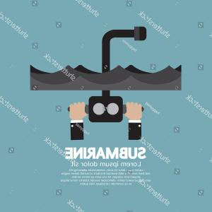 Periscope Logo Vector: Bathyscaphe With Periscope Icon Simple Style Vector