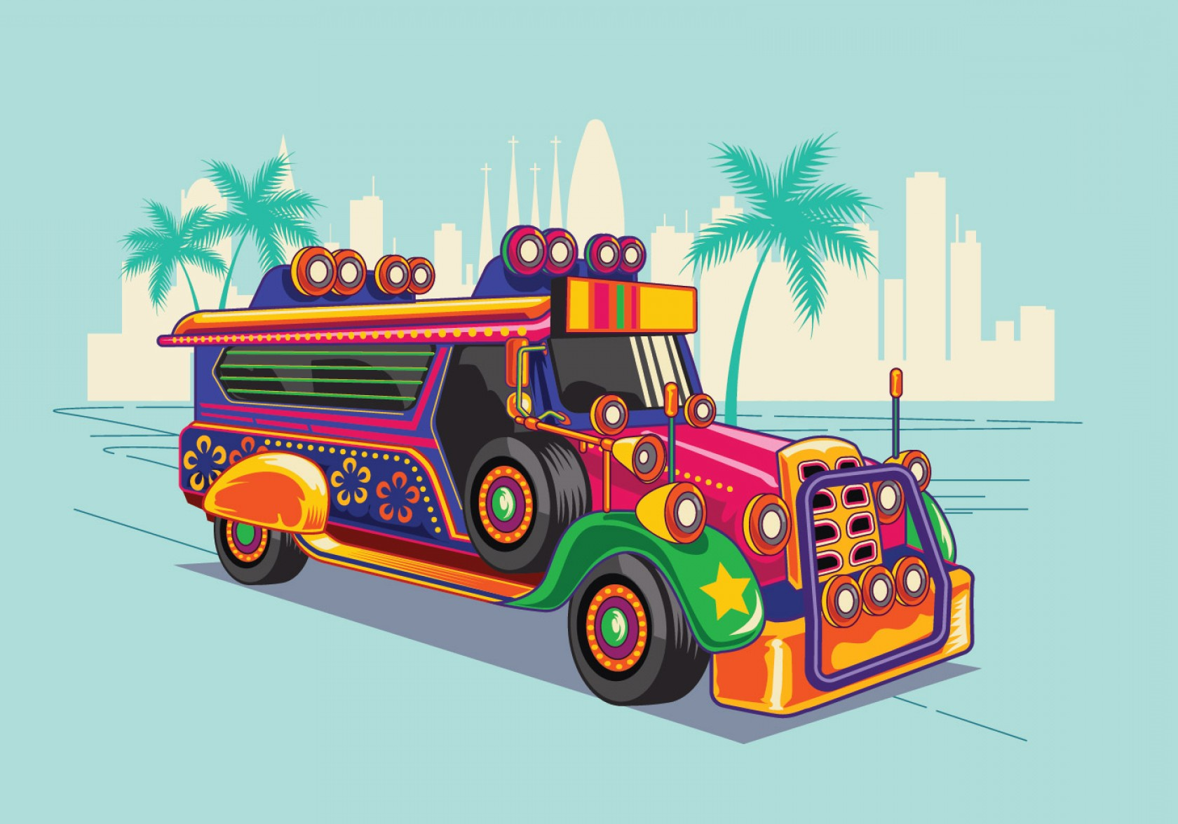 Vector Clip Art Of Jeep: Philippine Jeep Vector Illustration Or Jeepney