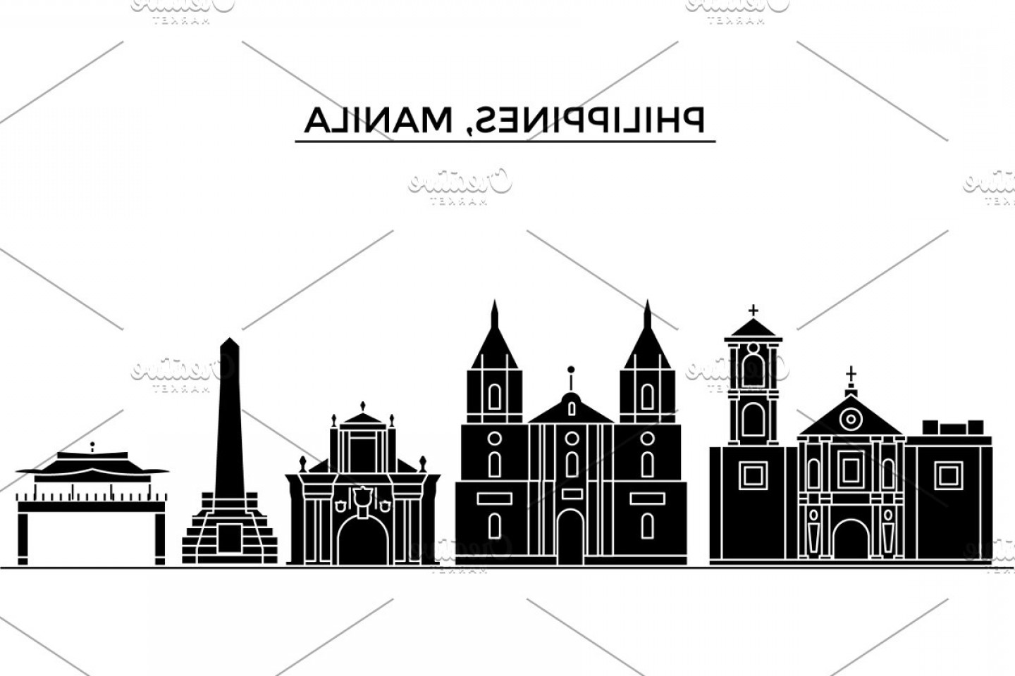 Architecture Vector: Philippines Manila Architecture Vector City Skyline Travel Cityscape With Landmarks Buildings Isolated Sights On Background
