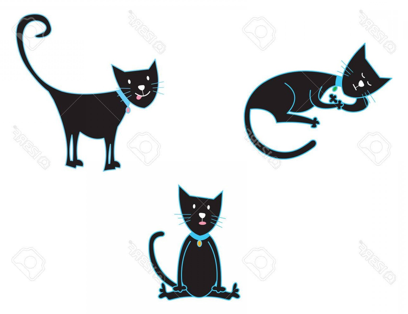 Vector Cats 3: Photo Black Cats Vector Cartoon Illustration