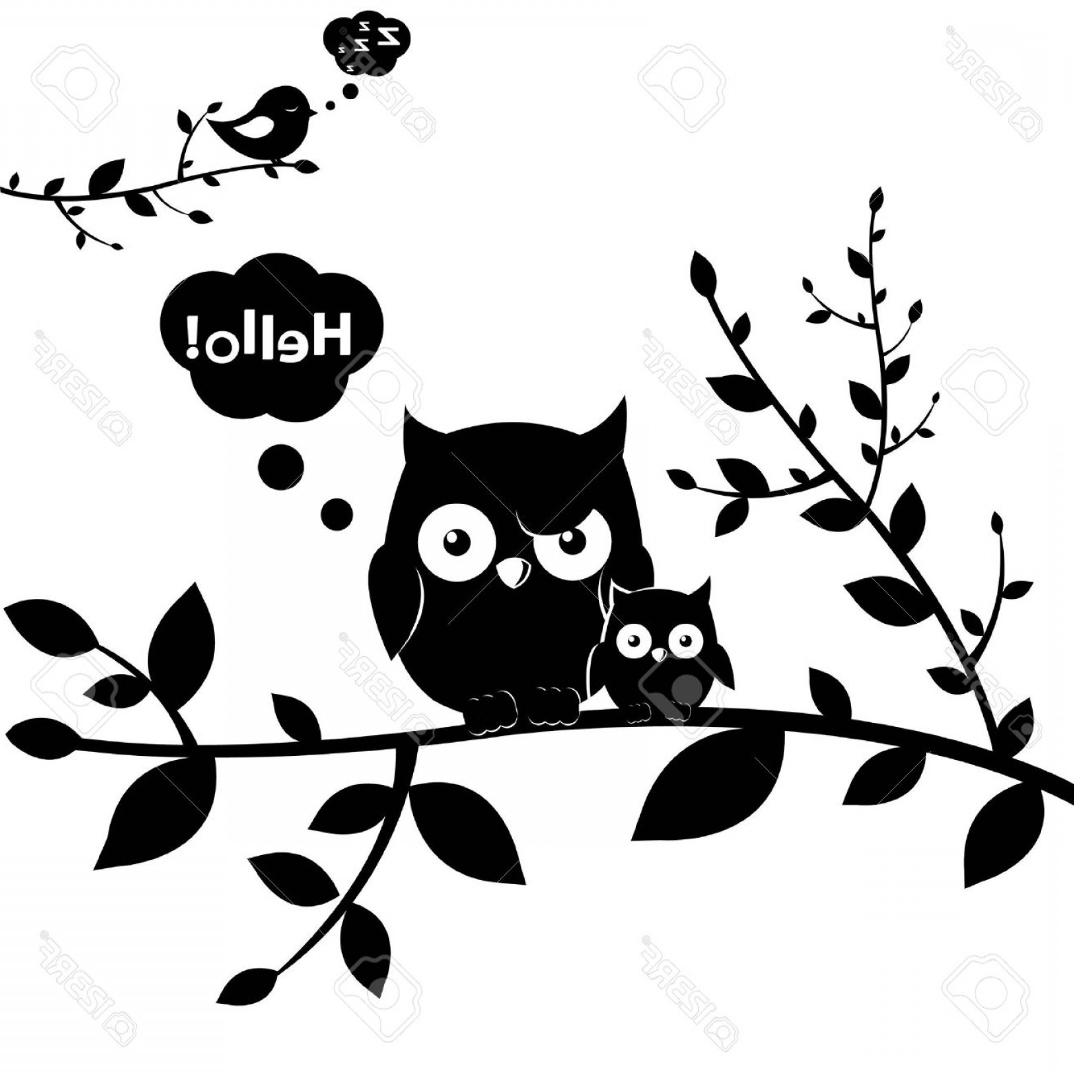 Owl Silhouette Vector Art: Photo Owls Isolated On White Background Vector Illustration