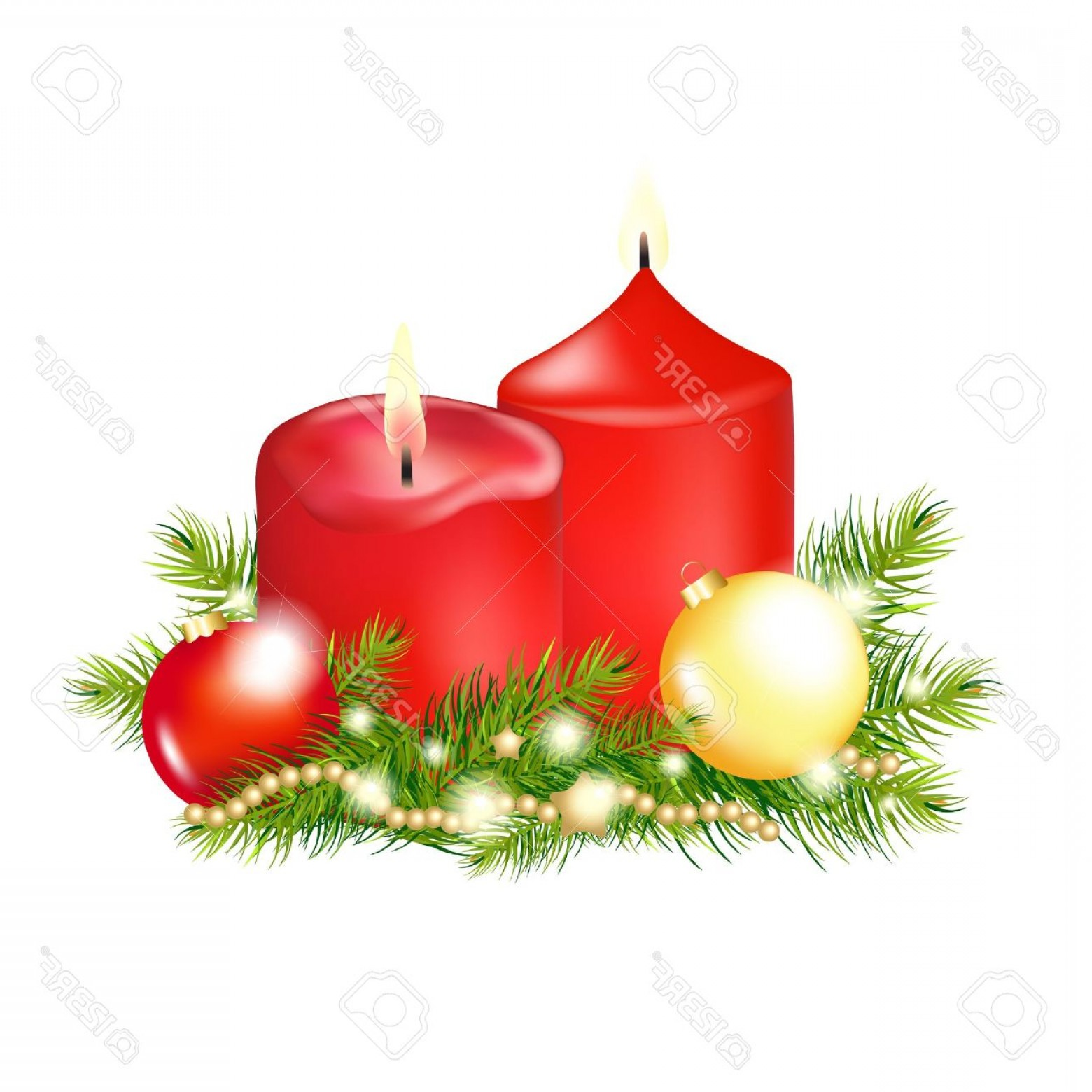 Vector-Based Grayscale Christmas: Photo Red Christmas Candle Isolated On White Background Illustration