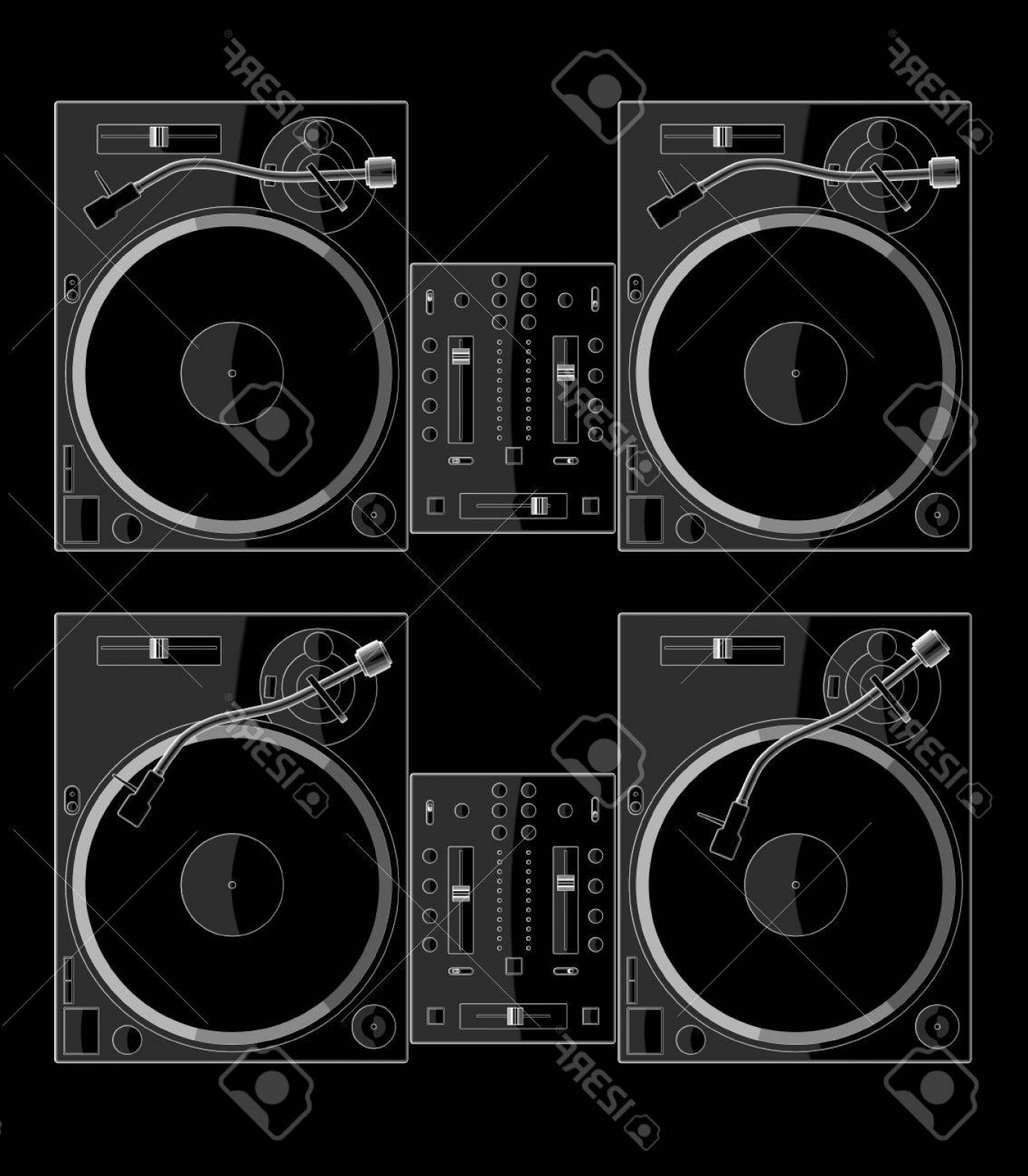 Vector DjDecks: Photo Turntable Decks And A Mixer Dj Equipment Record Player