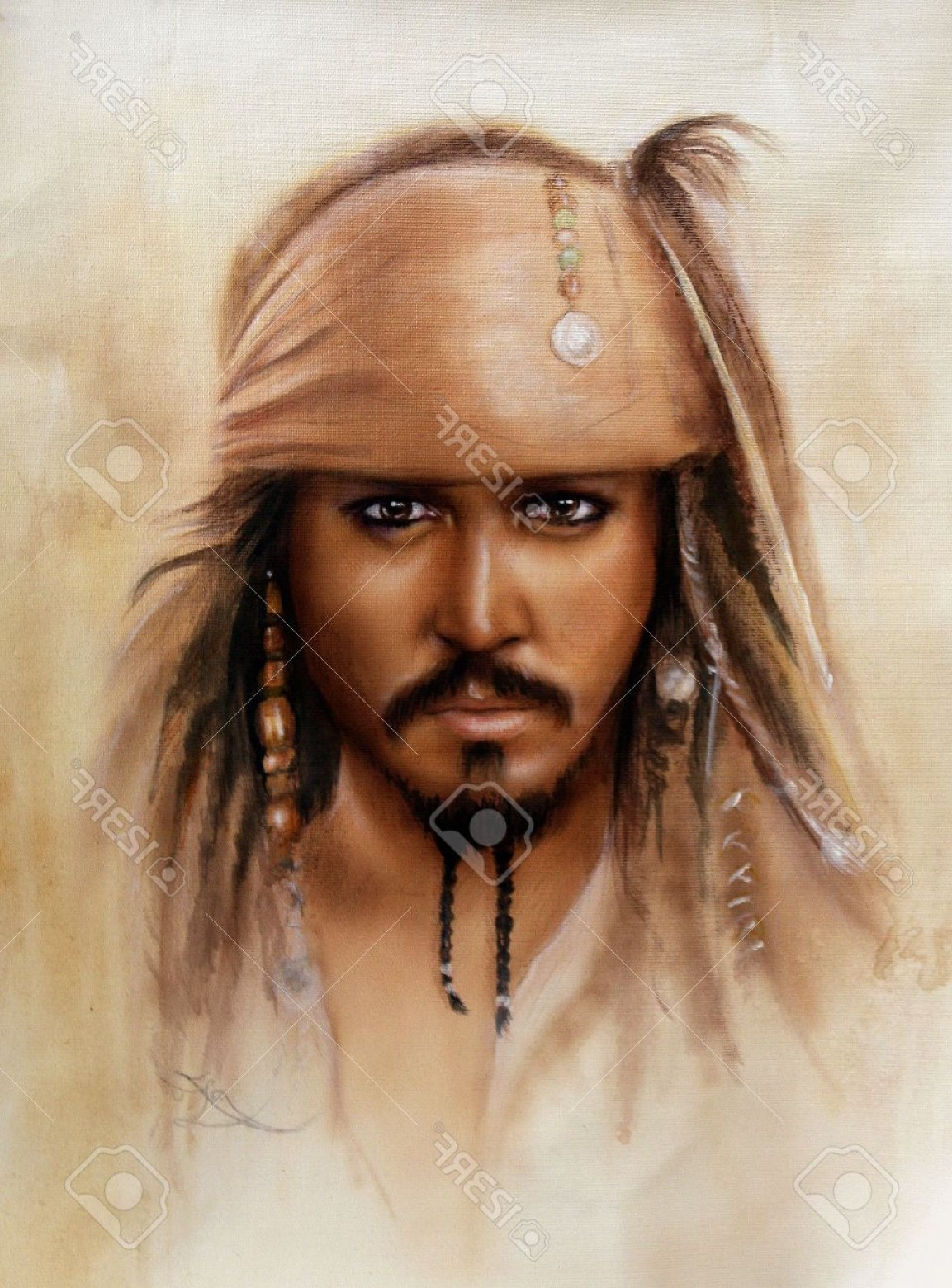 Jack Sparrow Vector Logo: Photoa Beautiful Close Up Portrait Of Jack Sparrow In Airbrush