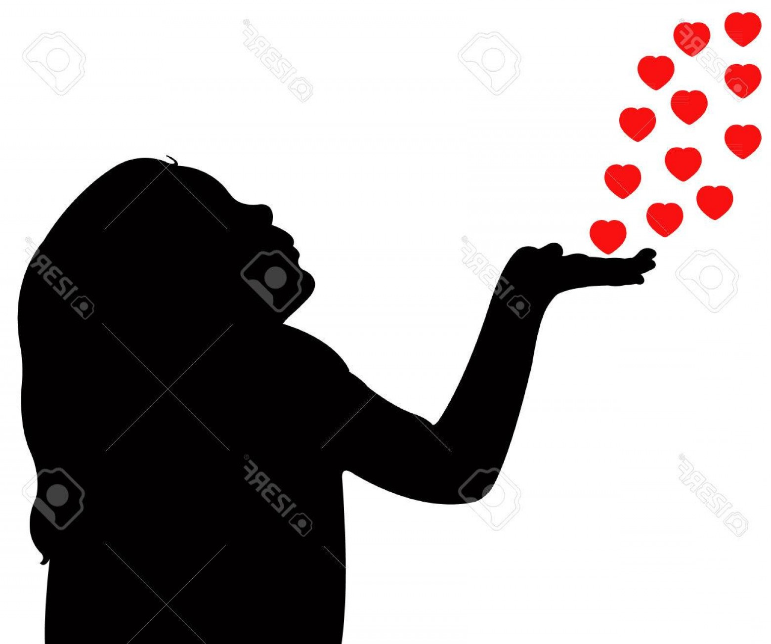 Vector Silhouette Love: Photoa Child Blowing Out Love Silhouette Vector