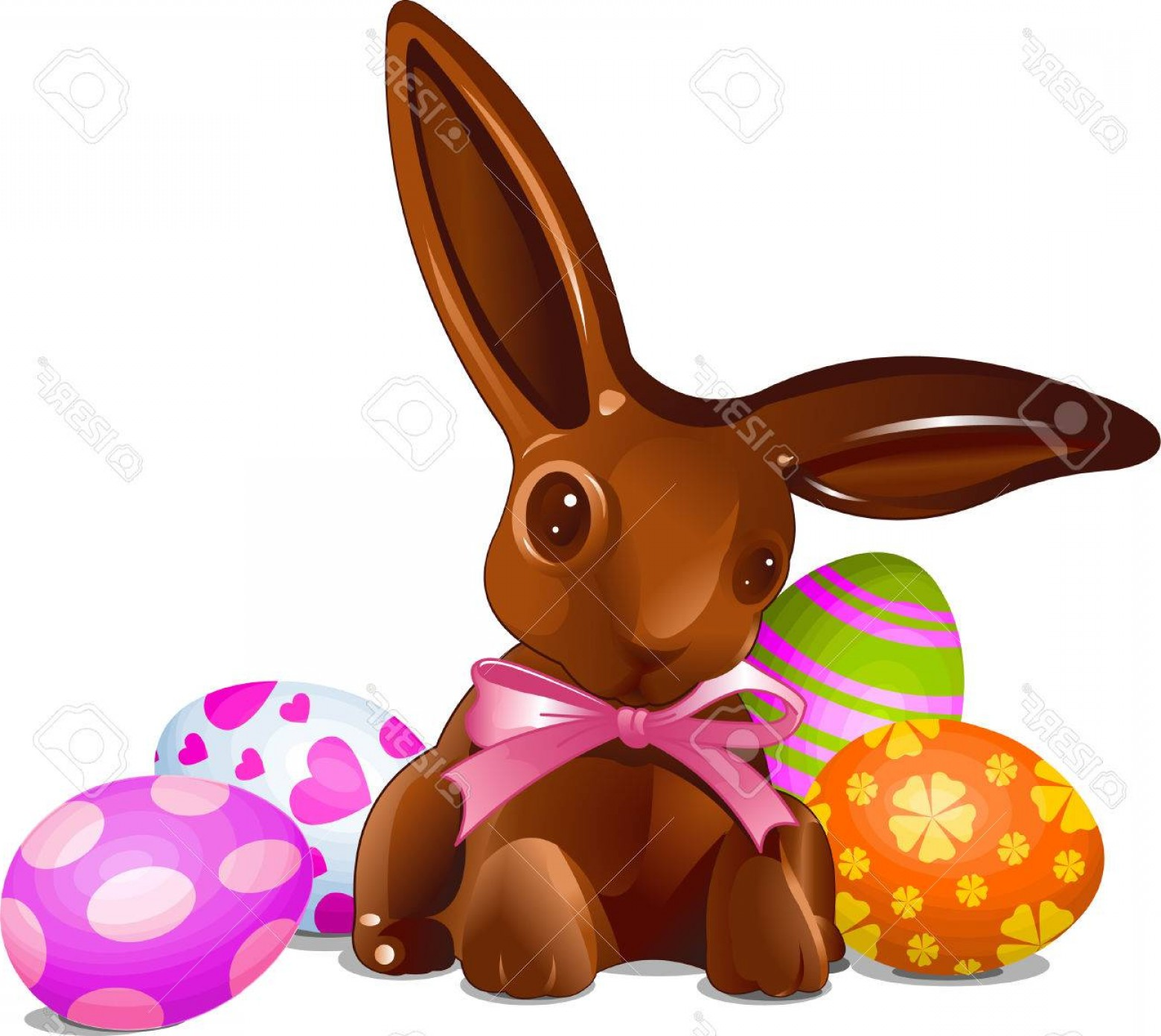 Chocolate Bunny Vector: Photoa Chocolate Easter Bunny With Easter Eggs