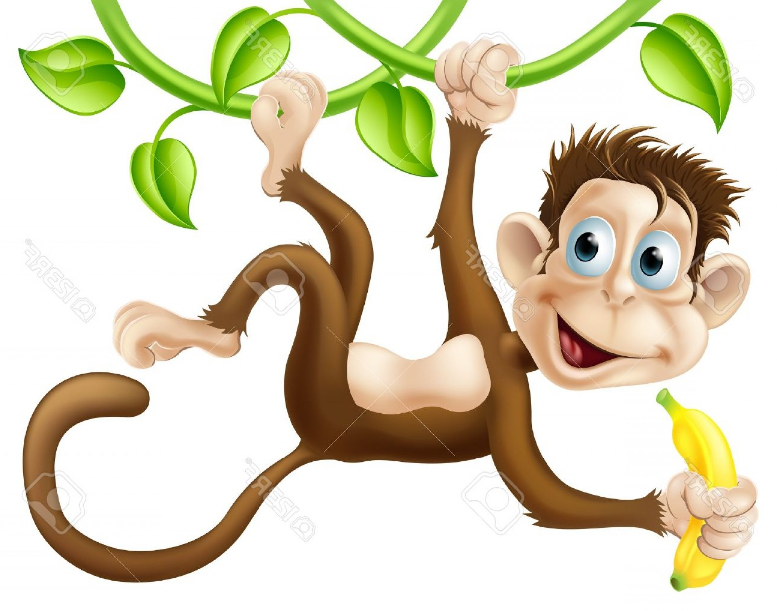 Vector Vine Tree: Photoa Cute Monkey Swinging From Vines With A Banana In His Hand