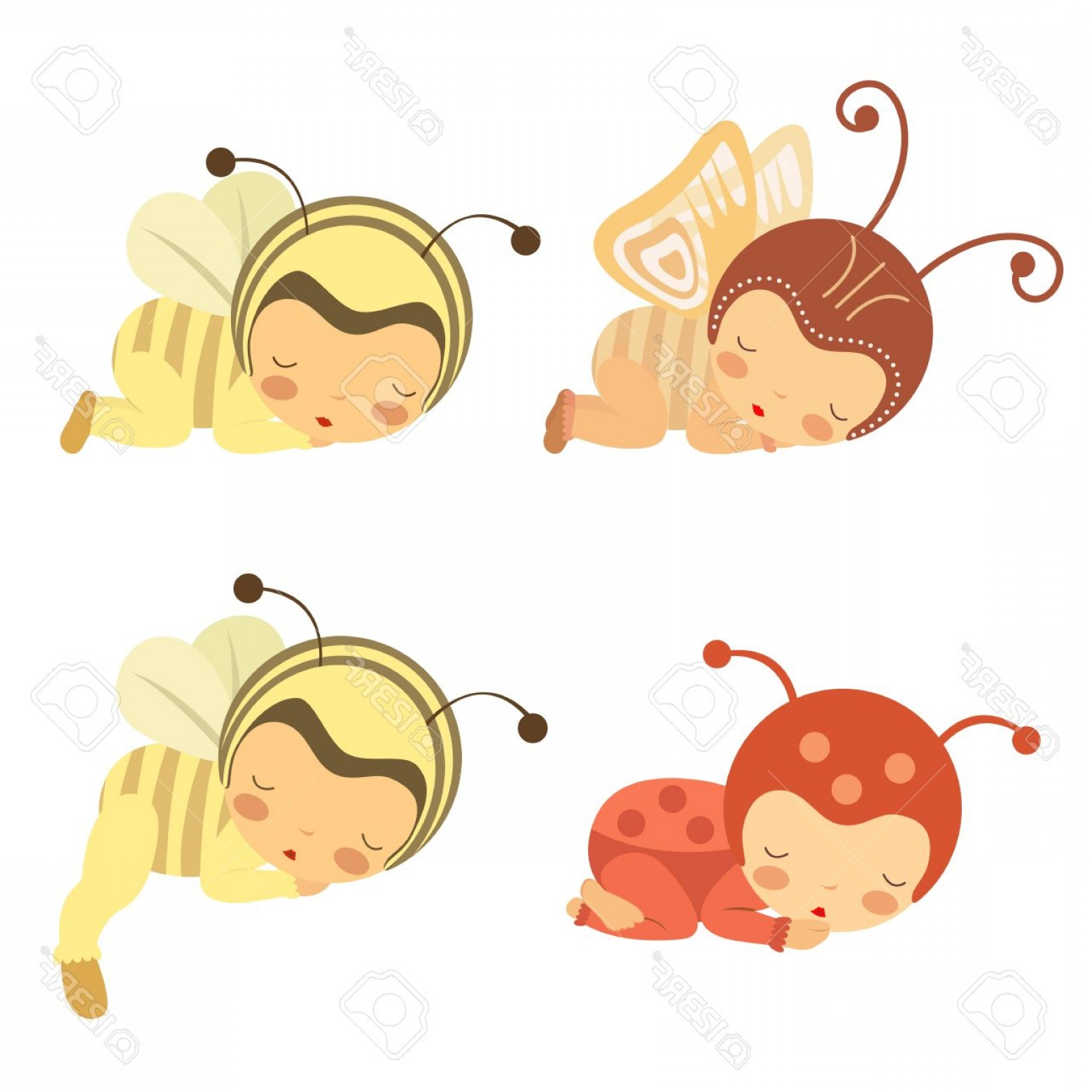 Sleeping Baby Vector: Photoa Cute Set Of Sleeping Babies In Various Costumes