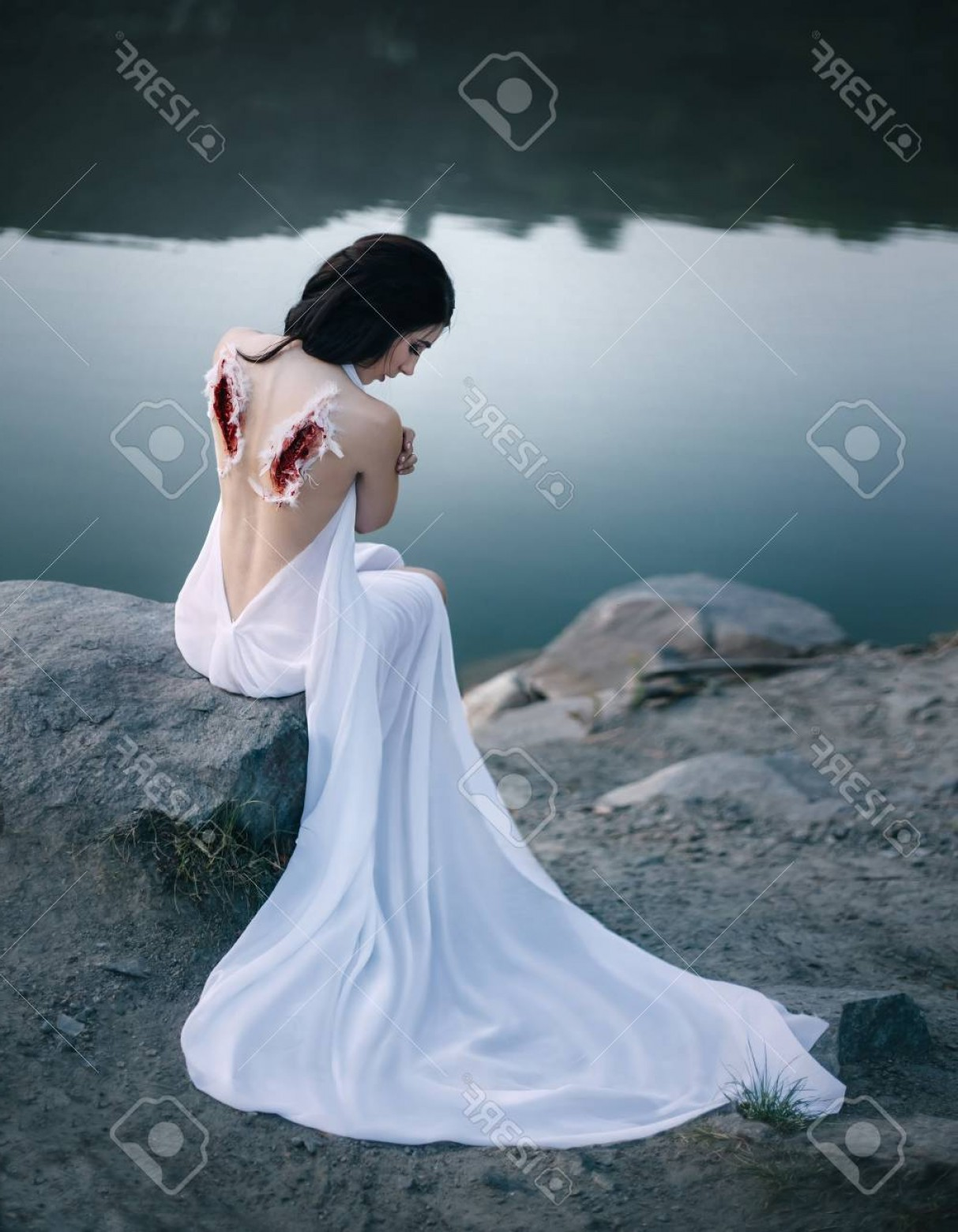 Torn Angel Wings Vector: Photoa Fallen Angel With Torn Off Wings The Girl Repents Of Her Sins The Wounds On Her Back The Marks Of