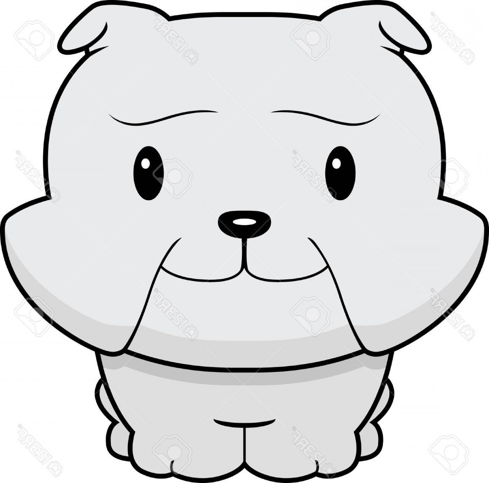 Vector Smiling Bulldog: Photoa Happy Cartoon Baby Bulldog Standing And Smiling