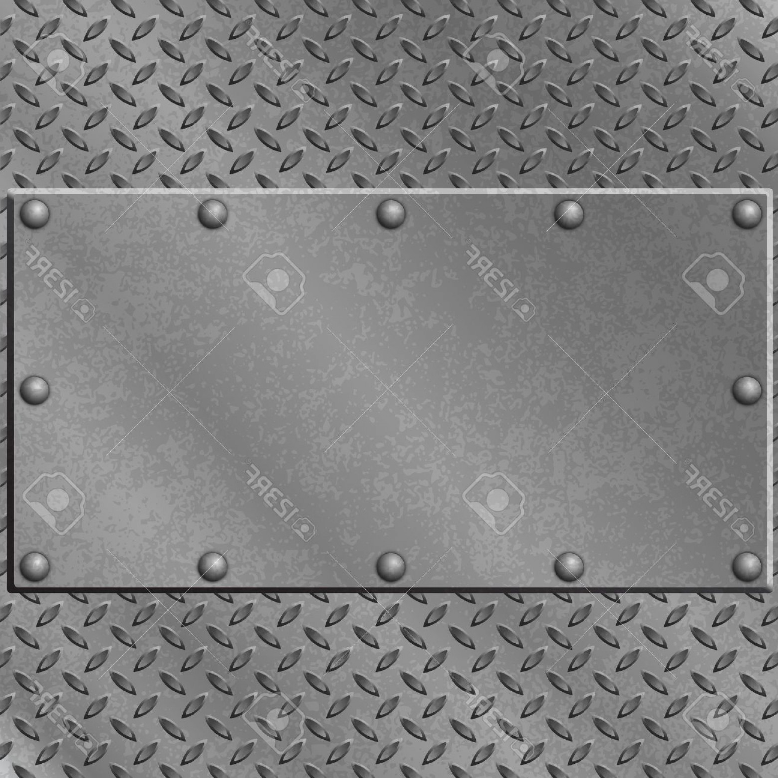 Tread Plate Vector: Photoa Metal Background With Tread Plate And Rivets