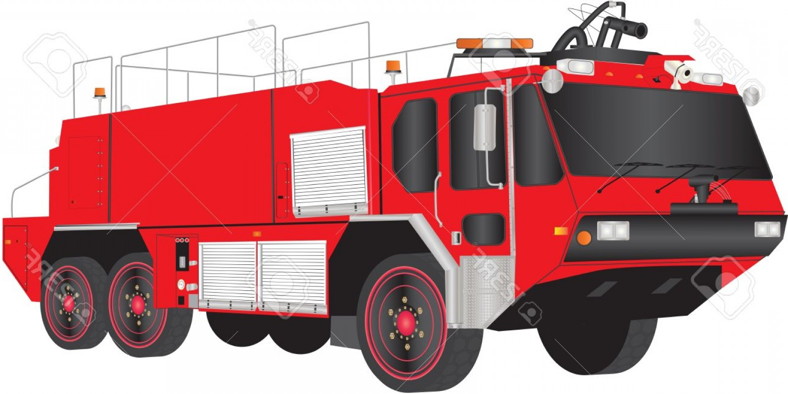 Fire Truck Vector Art: Photoa Red Airport Fire Truck Isolated On White