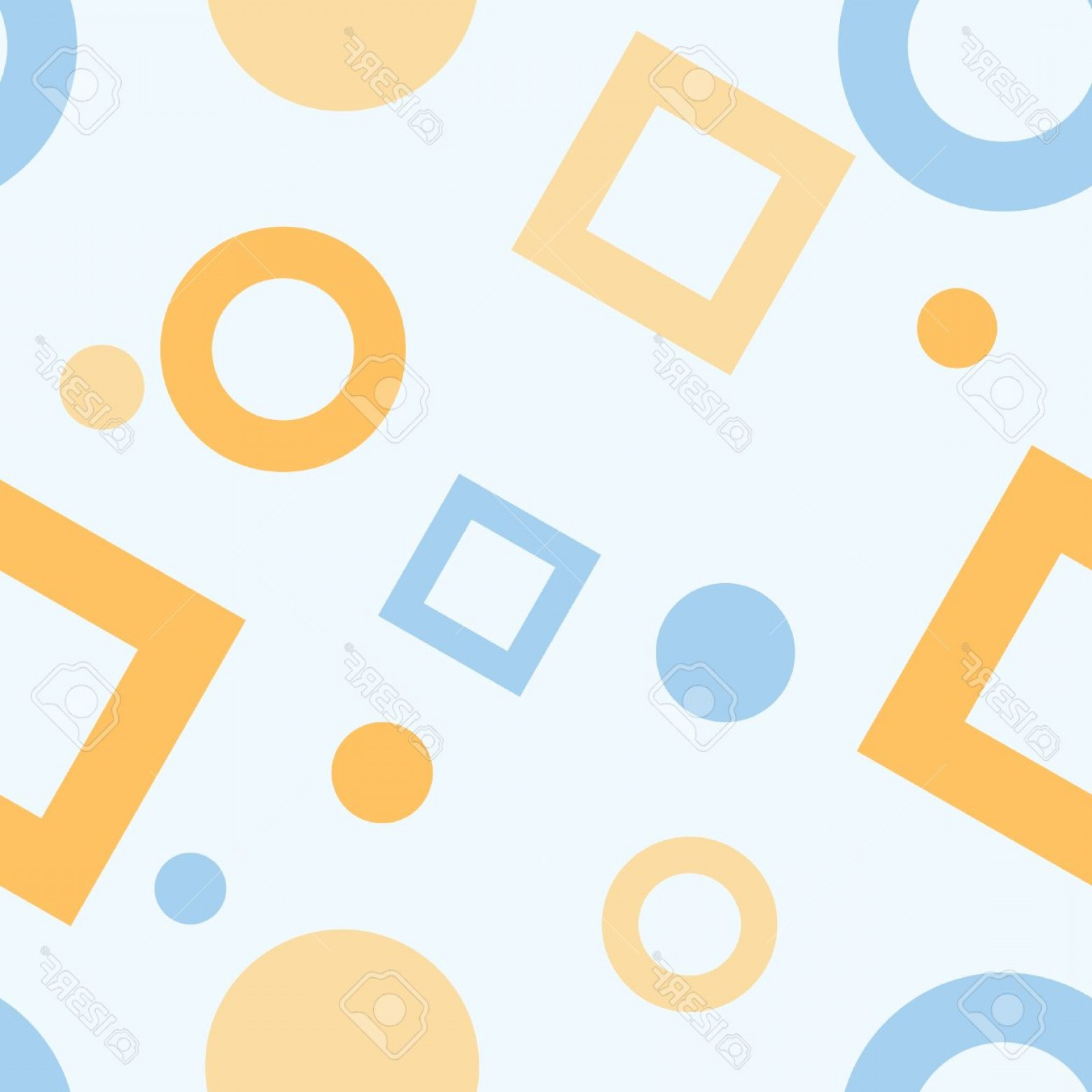 Blue And Orange Circle Vector: Photoa Seamless Pattern Of Blue And Orange Circles And Squares On A Pale Blue Background
