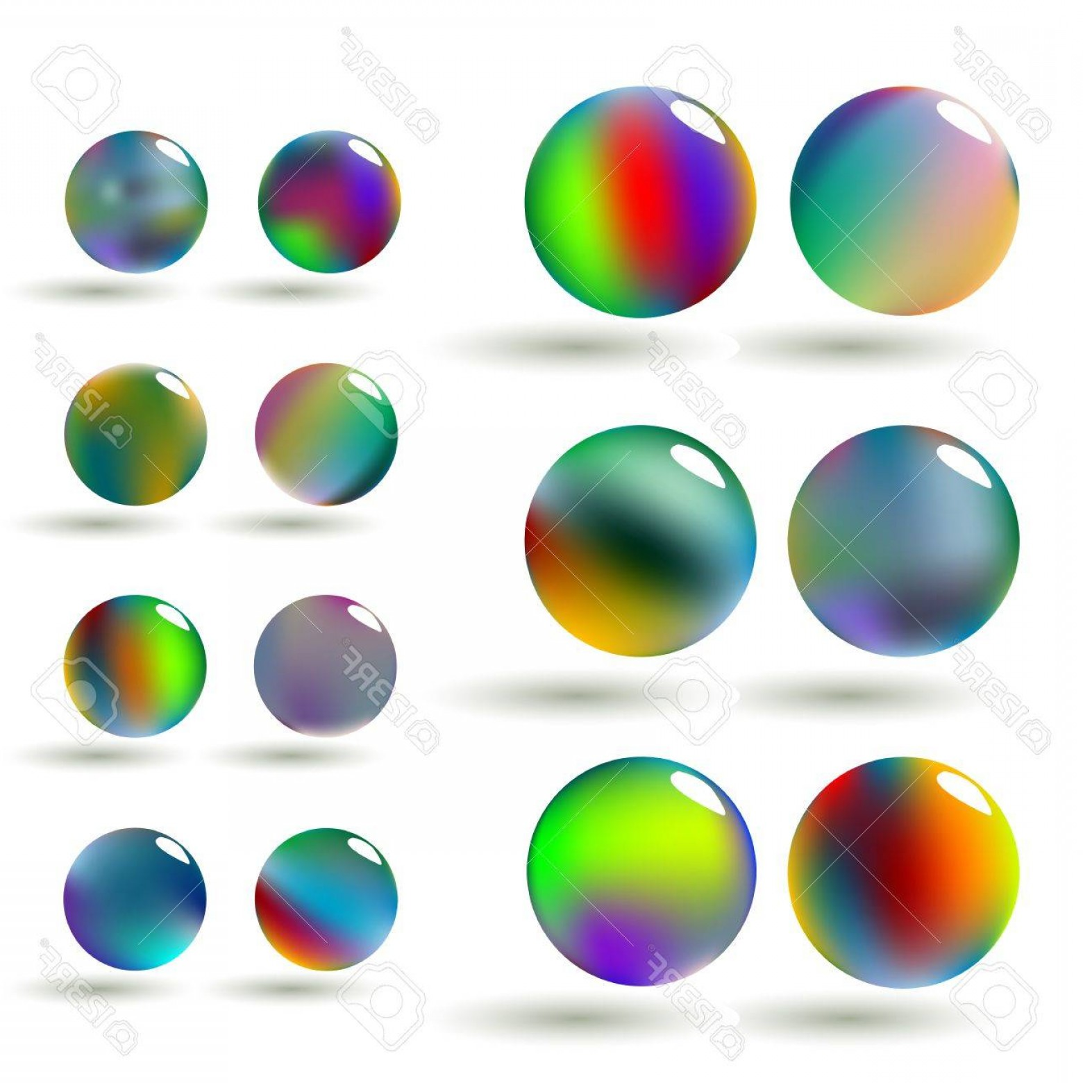Vector Sphere Marble: Photoa Set Of Glossy Colorful Vector Spheres