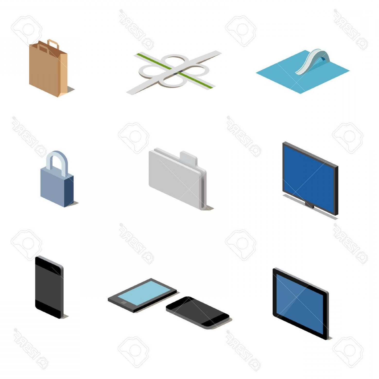 Folder Tab Vectors: Photoa Set Of Vector Media Icons In Isometric Format Including Easy Safe Shop Guidepost Folder Screen Tab