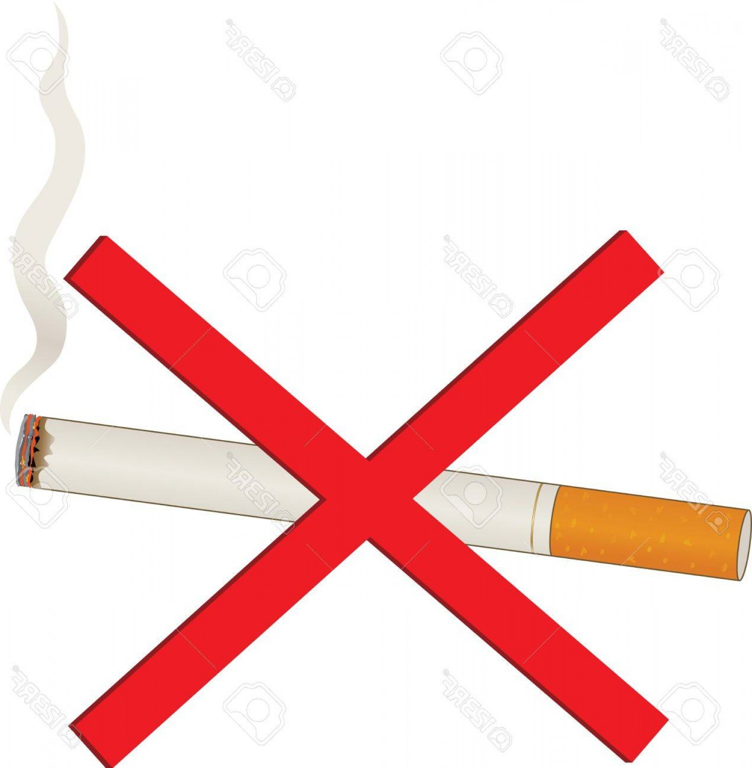 Billow Smoke Vector: Photoa Single Lit Cigarette With A Billow Of Smoke And A Red Cross Over It