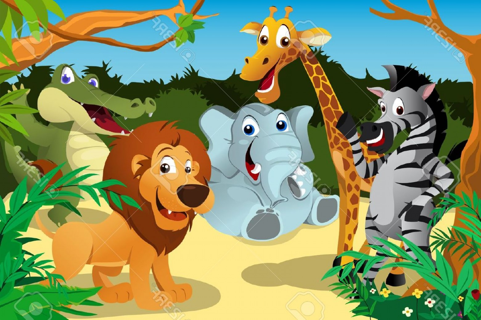 Jungle Animals Clip Art Vector: Photoa Vector Illustration Of A Group Of Wild African Animals In The Jungle