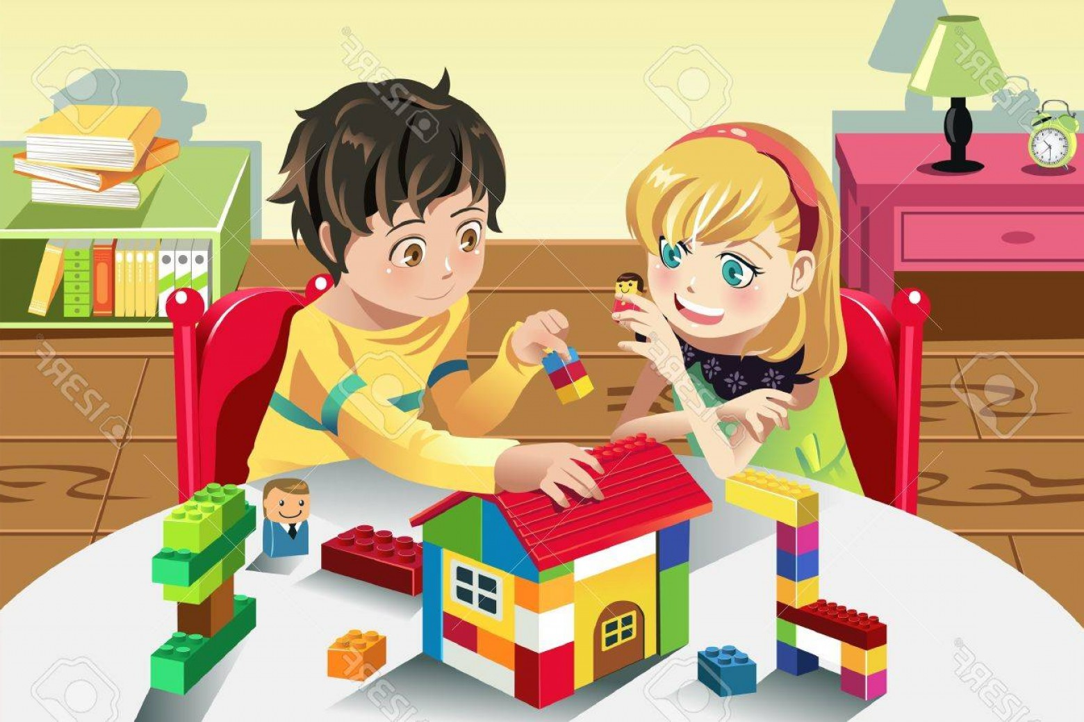 Vector Block Play: Photoa Vector Illustration Of Kids Playing With Their Toys