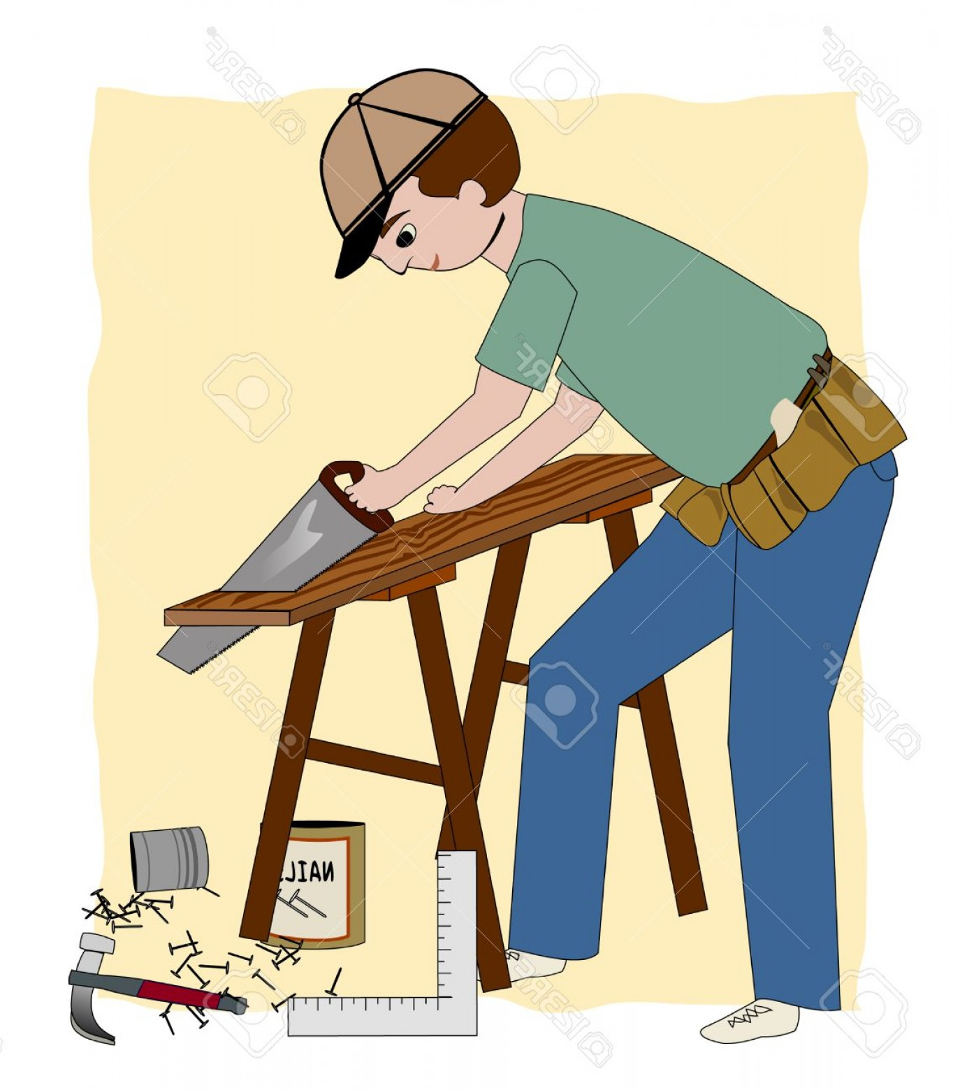 General Contractor Vector: Photoa Working Carpenter Builder Or General Contractor With A Sawhorse Wood Nails