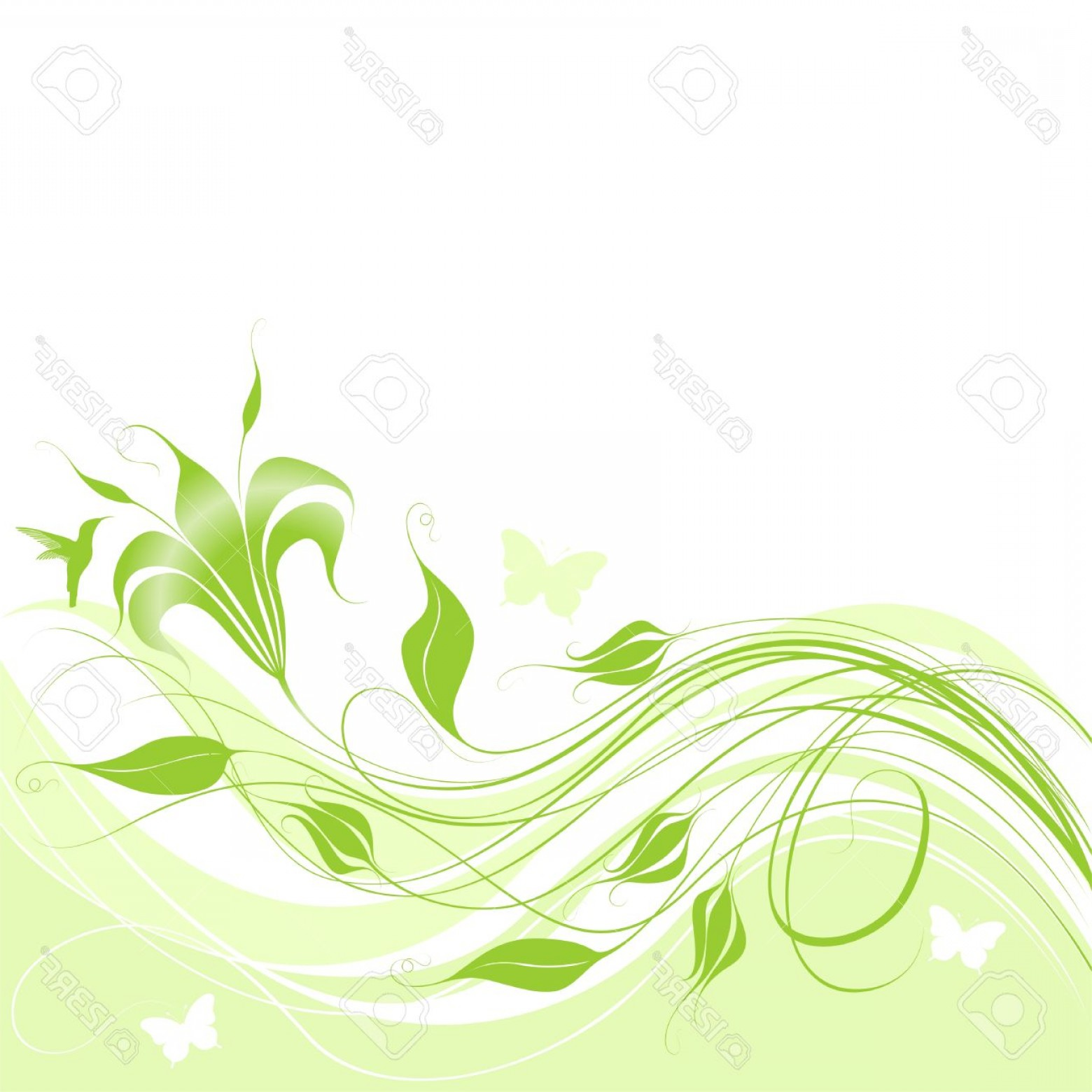 Green Flower Vector Designs: Photoabstract Background With Green Flower Elements