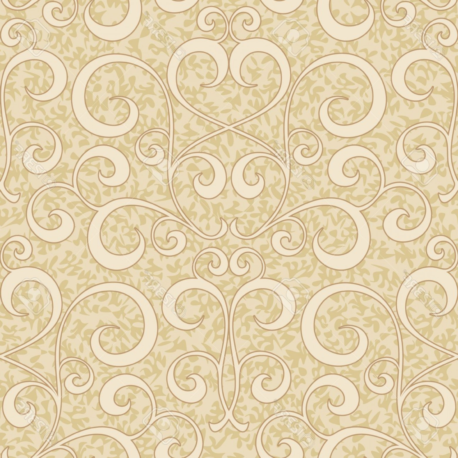 Vector Flourish Backgrounds: Photoabstract Beige Flourish Floral Swirl Seamless Background Pattern
