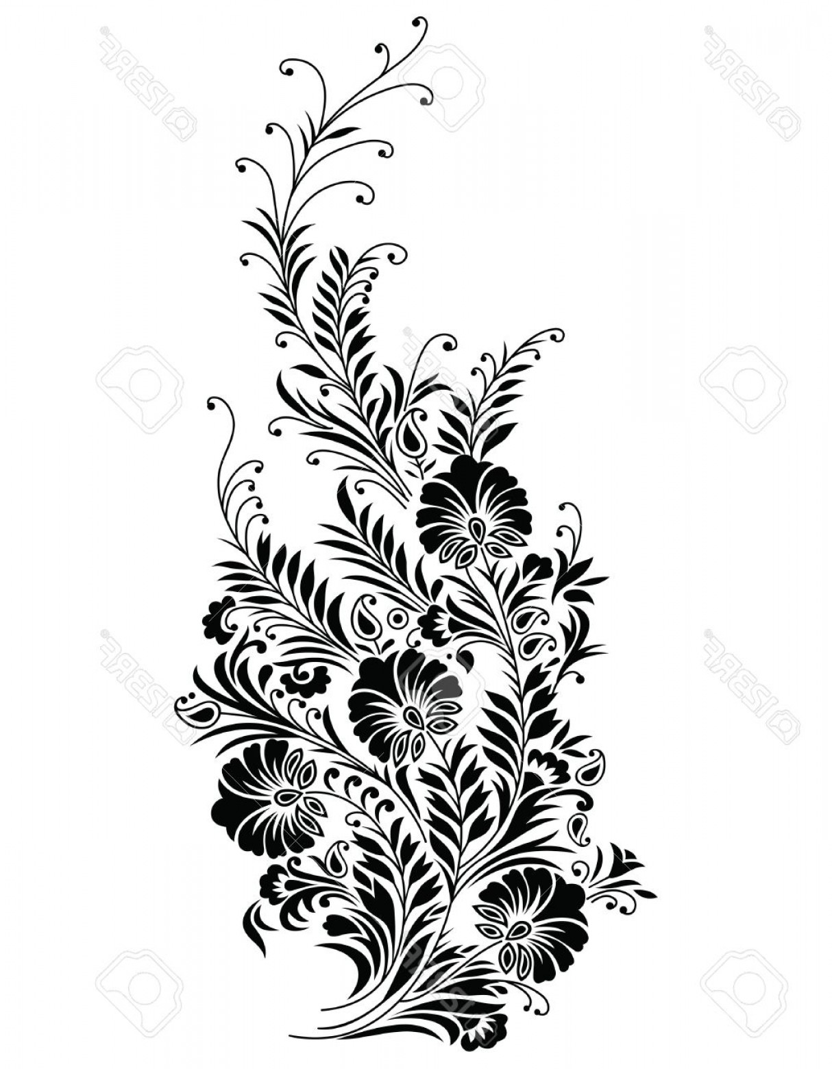 Vector Vine Tree: Photoabstract Black Floral Vine Design Element