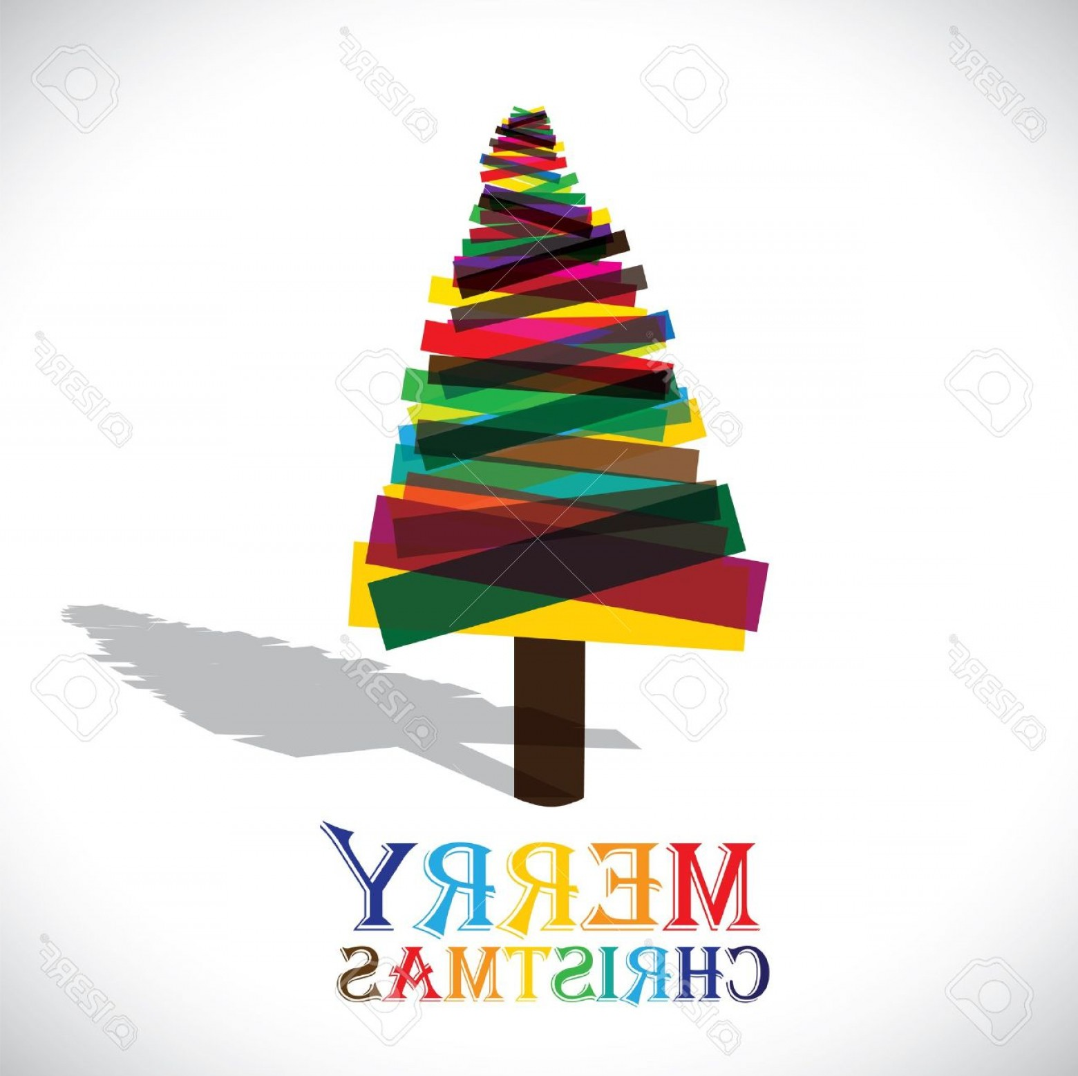 Merry Christmas Vector Graphic: Photoabstract Colorful Xmas Tree On White Background Vector Graphic This Illustration Shows Christmas Tre