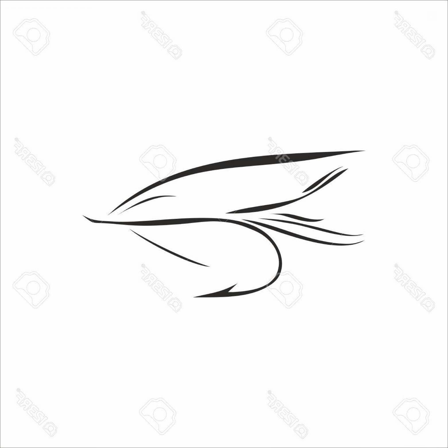 Detailed Vector Art Fly Fisherman: Photoabstract Fly Fishing In Black Color On White Background