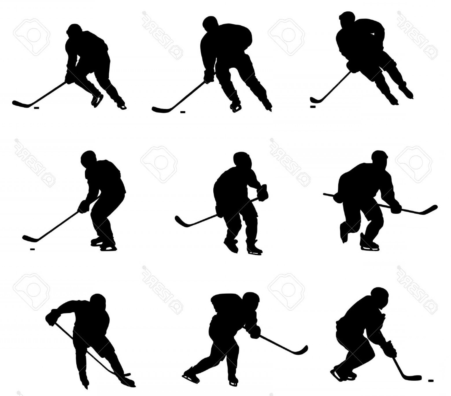 Hockey Player Silhouette Vector: Photoabstract Vector Illustration Of Hockey Player Silhouette