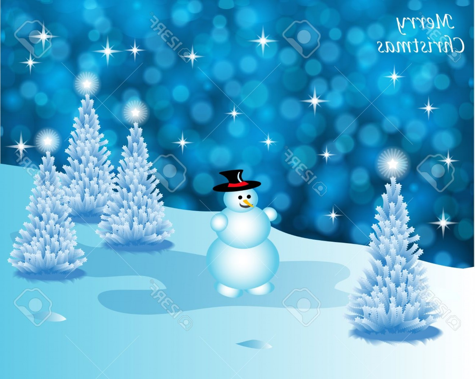 Free Winter Vector: Photoabstract Winter Vector Background Scene With Snowy Christmas Trees And A Snowman