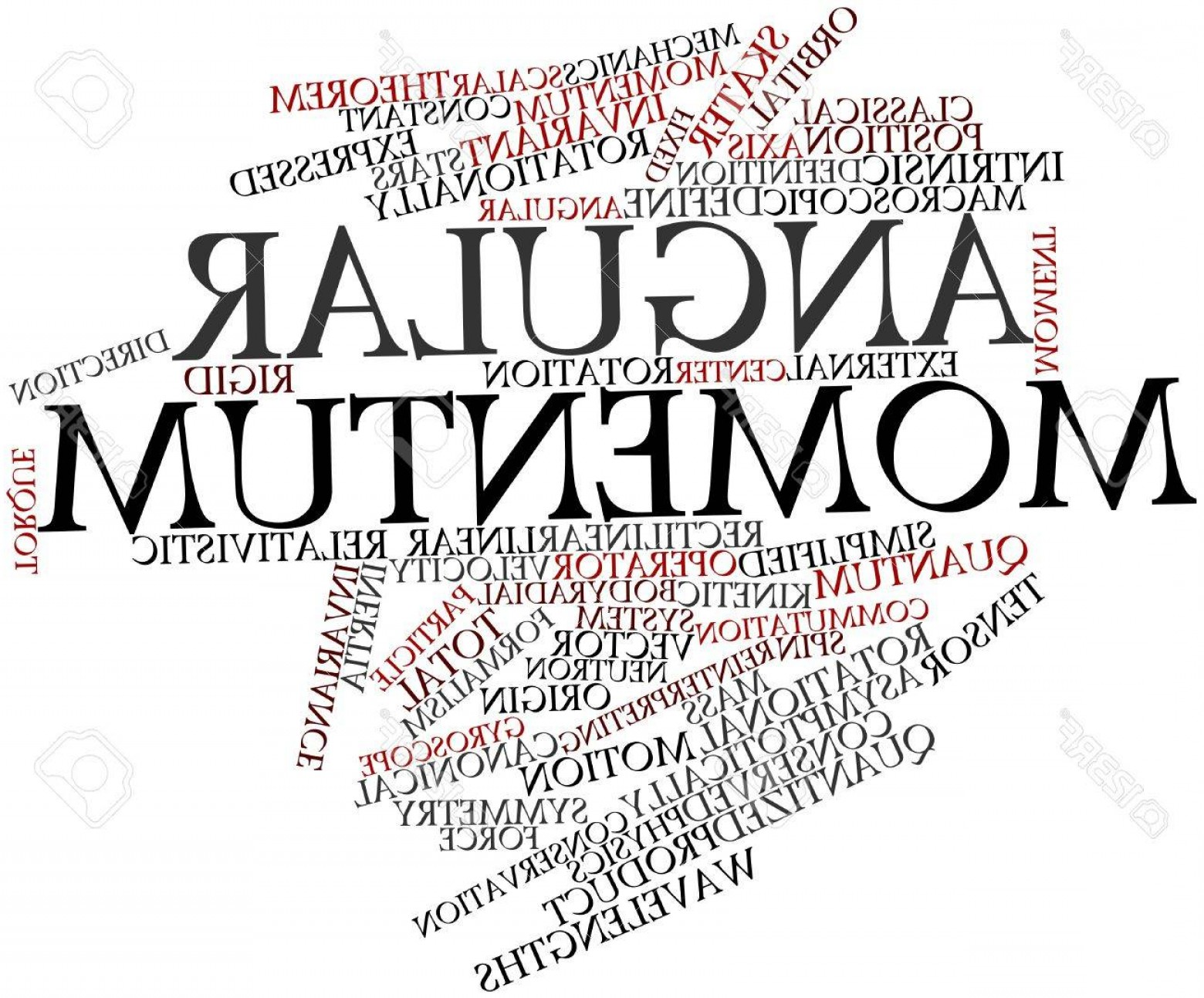 Angular Momentum Vectors Drawing: Photoabstract Word Cloud For Angular Momentum With Related Tags And Terms