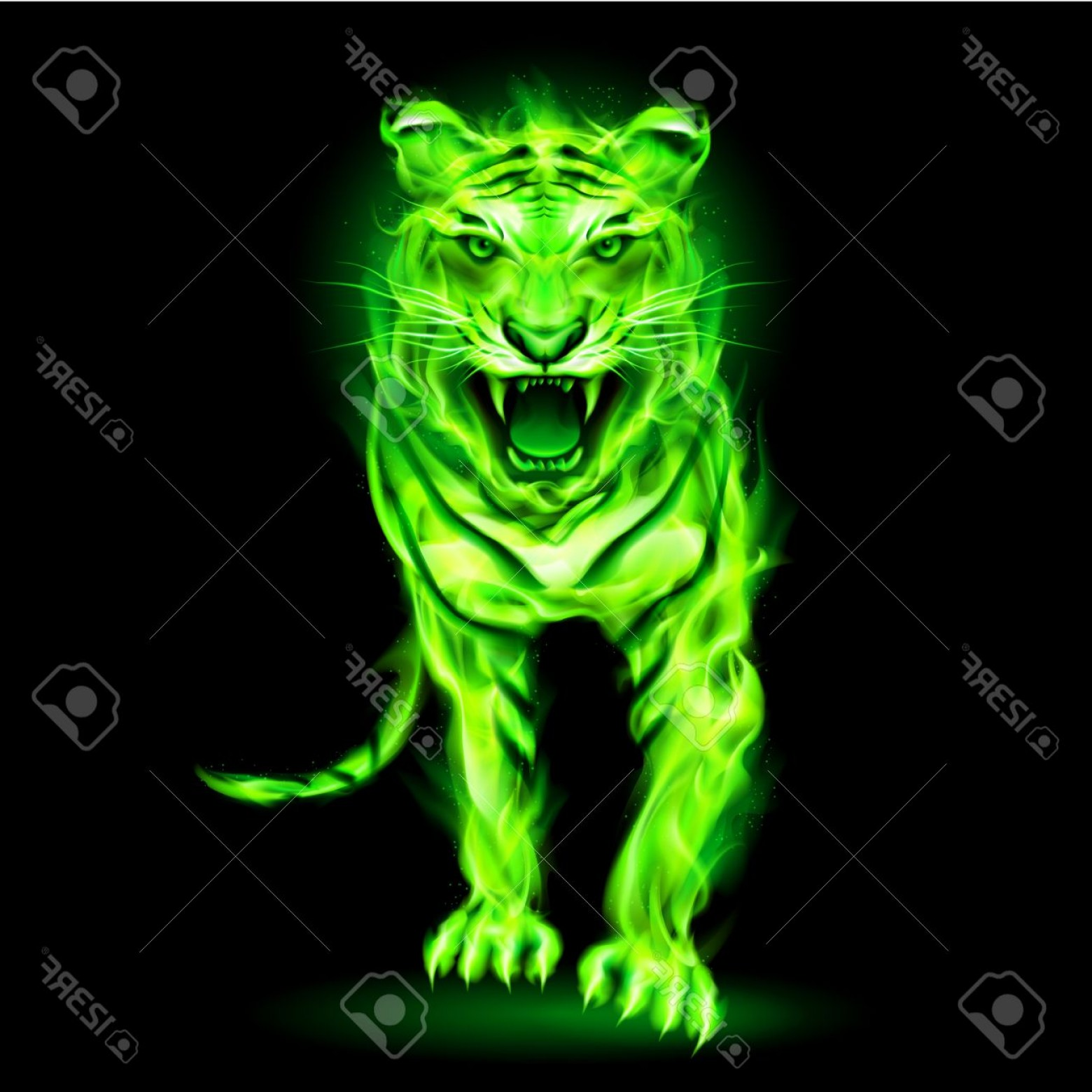 Green Tiger Vector: Photoagressive Green Fire Tiger Isolated On Black Background