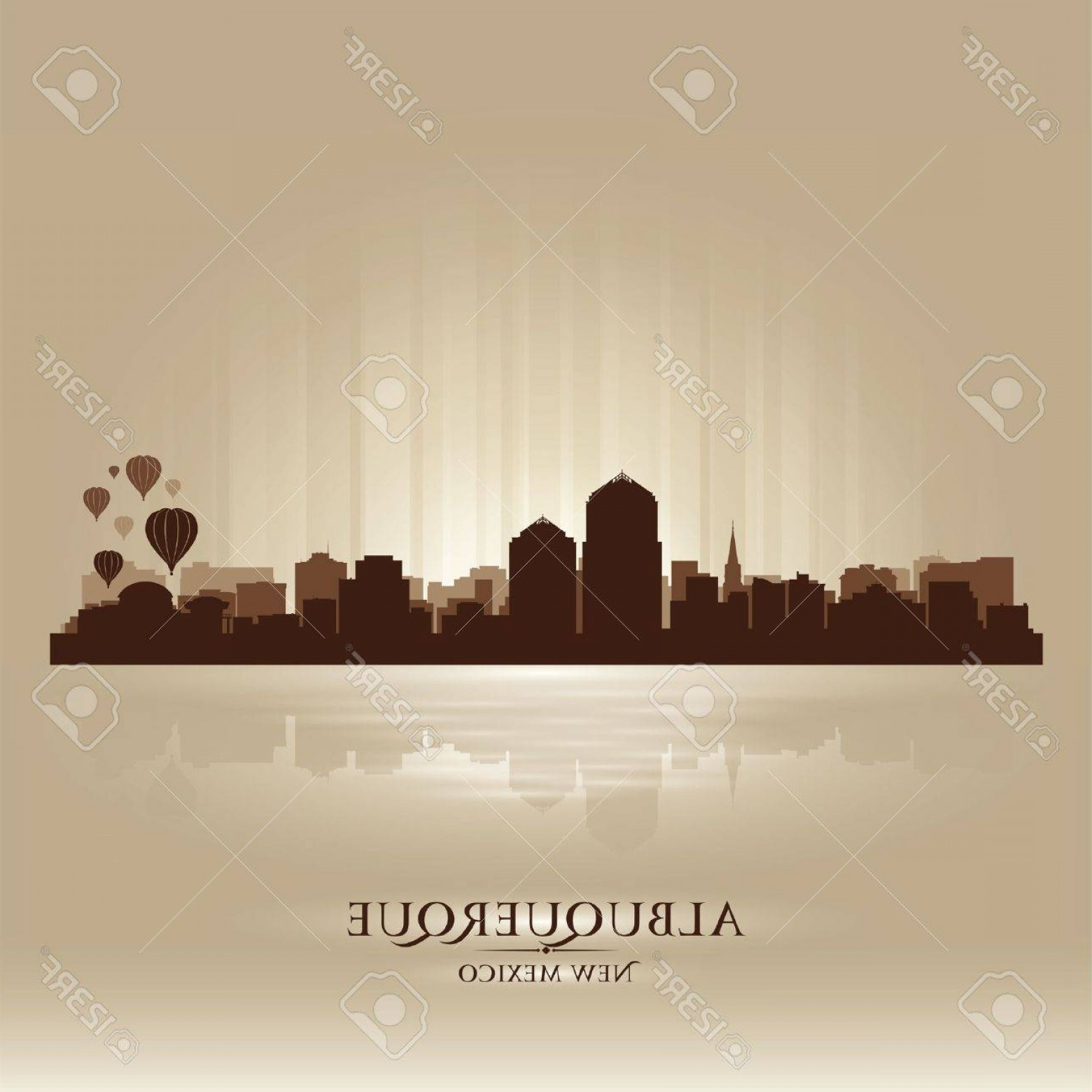 Vector Albuquerque: Photoalbuquerque New Mexico Skyline City Silhouette