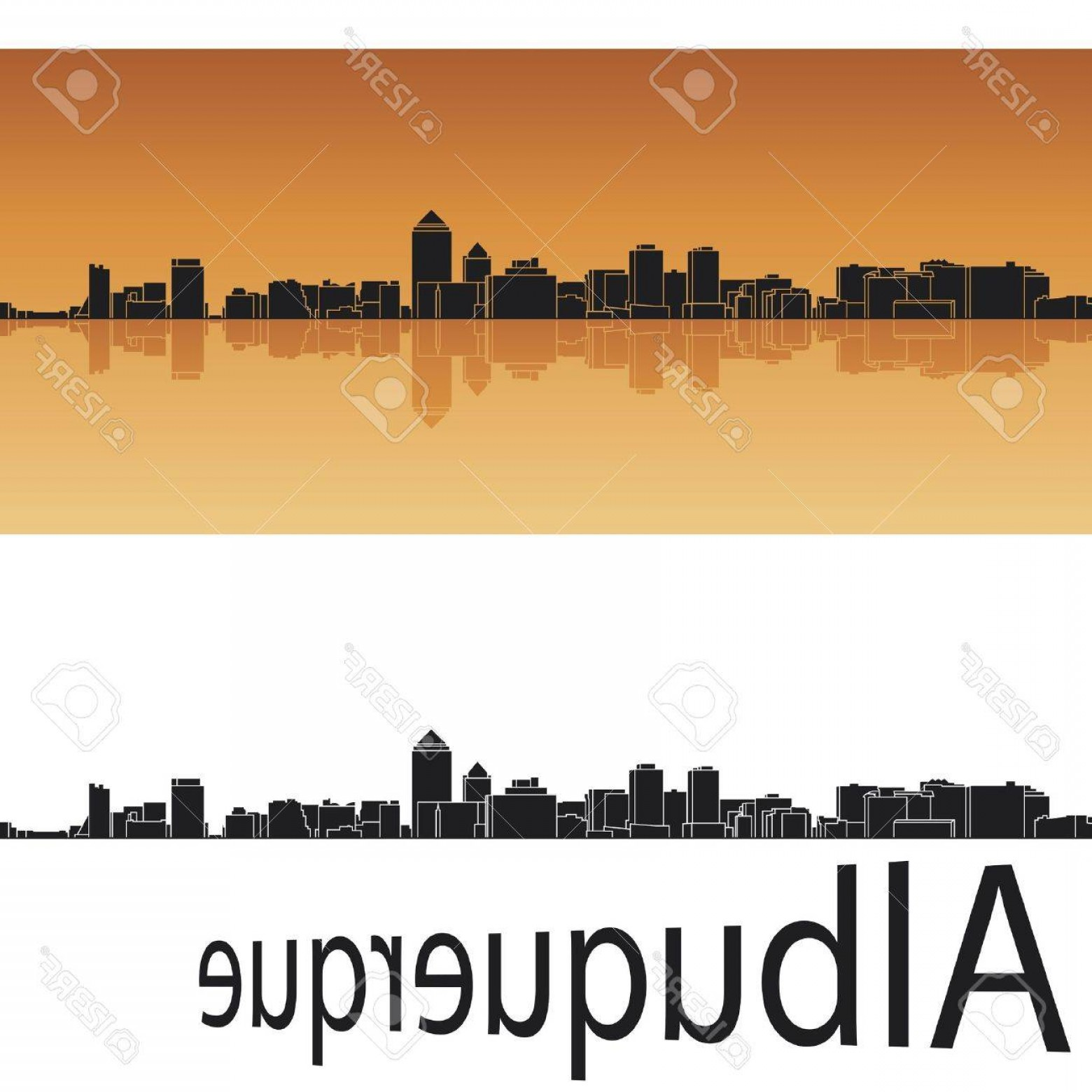 Vector Albuquerque: Photoalbuquerque Skyline In Orange Background In Editable Vector File