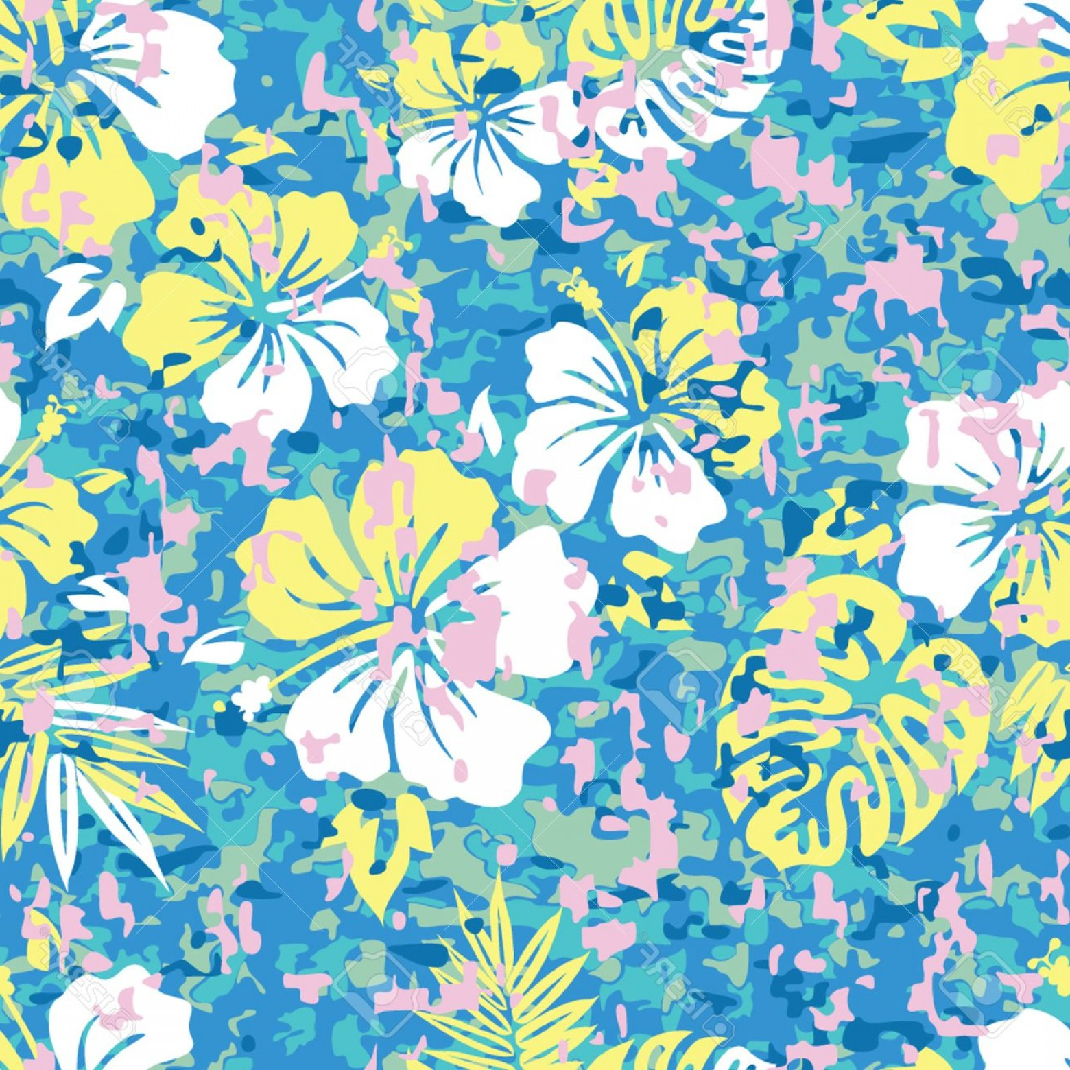 Hawaiian Pattern Vector: Photoaloha Hawaiian Shirt Camouflage Seamless Background Pattern