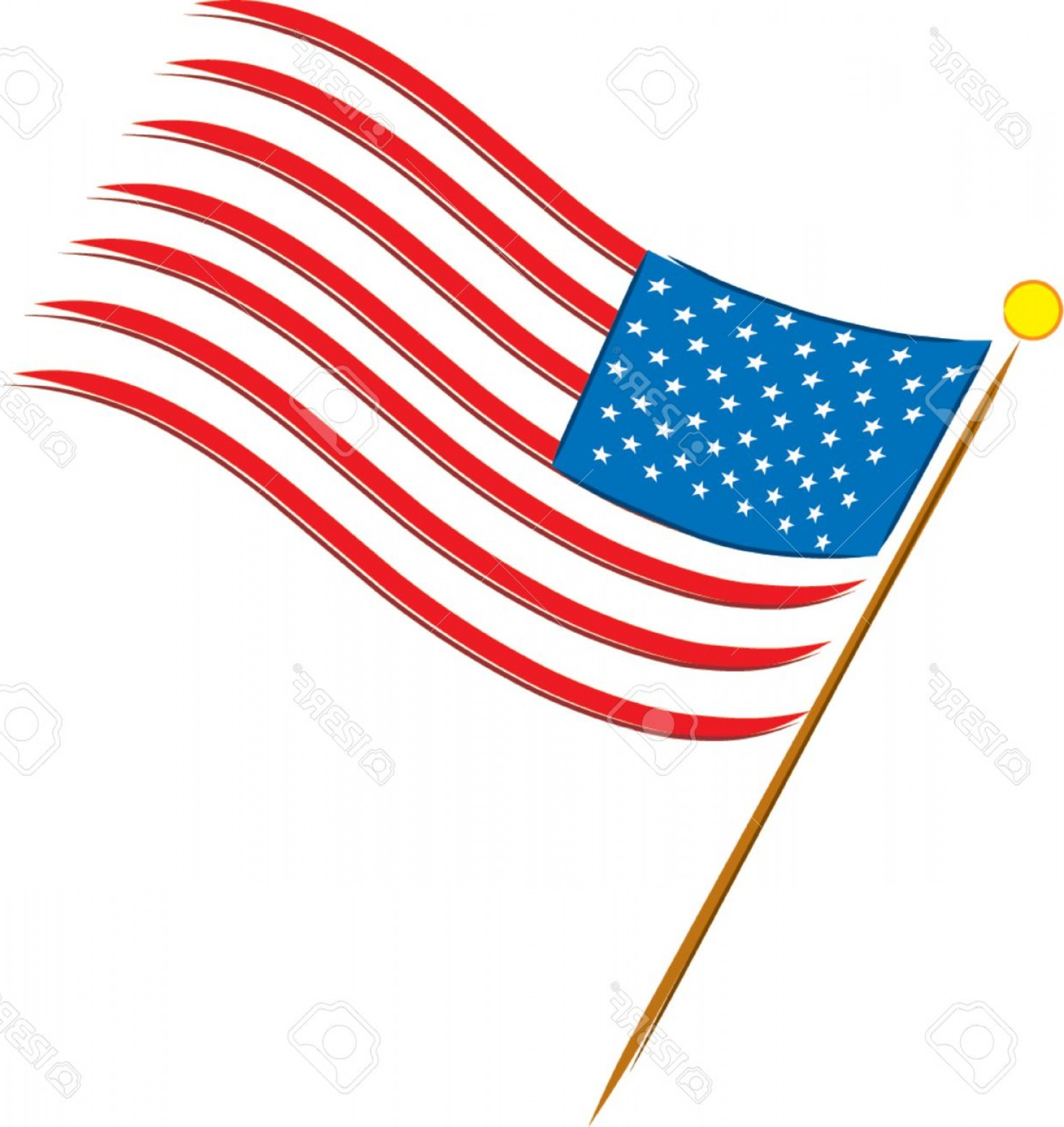 American Flag On Pole Vector: Photoamerican Flag On A White Background With Stars