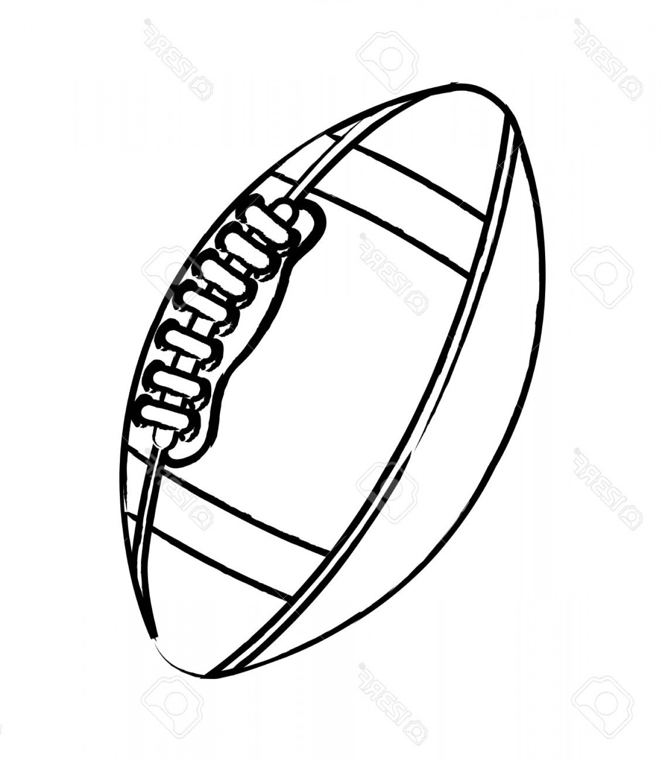 Black And White Vector American Football: Photoamerican Football Over White Background Vector Illustration