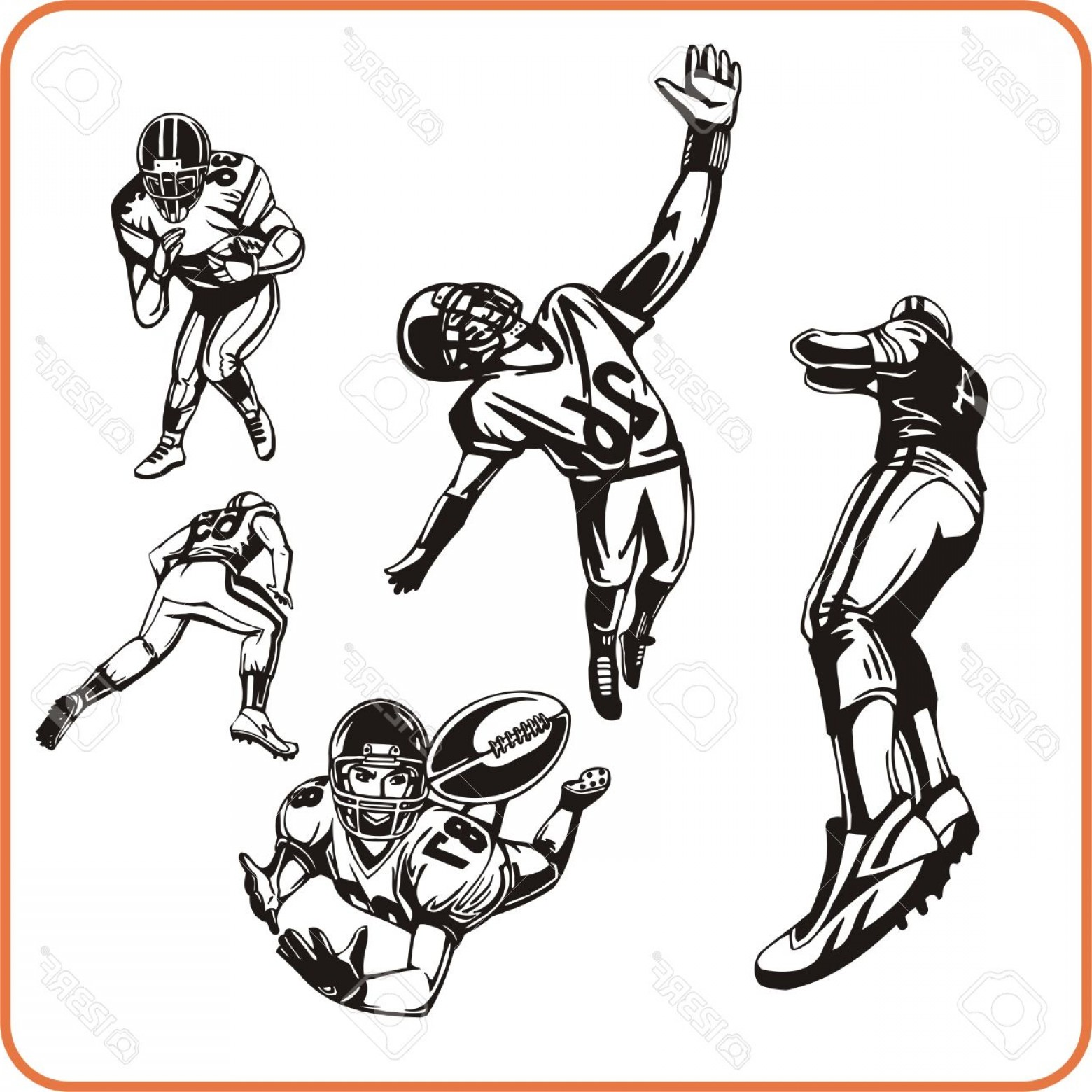 High Res Vector American Football: Photoamerican Football Player Vector Illustration