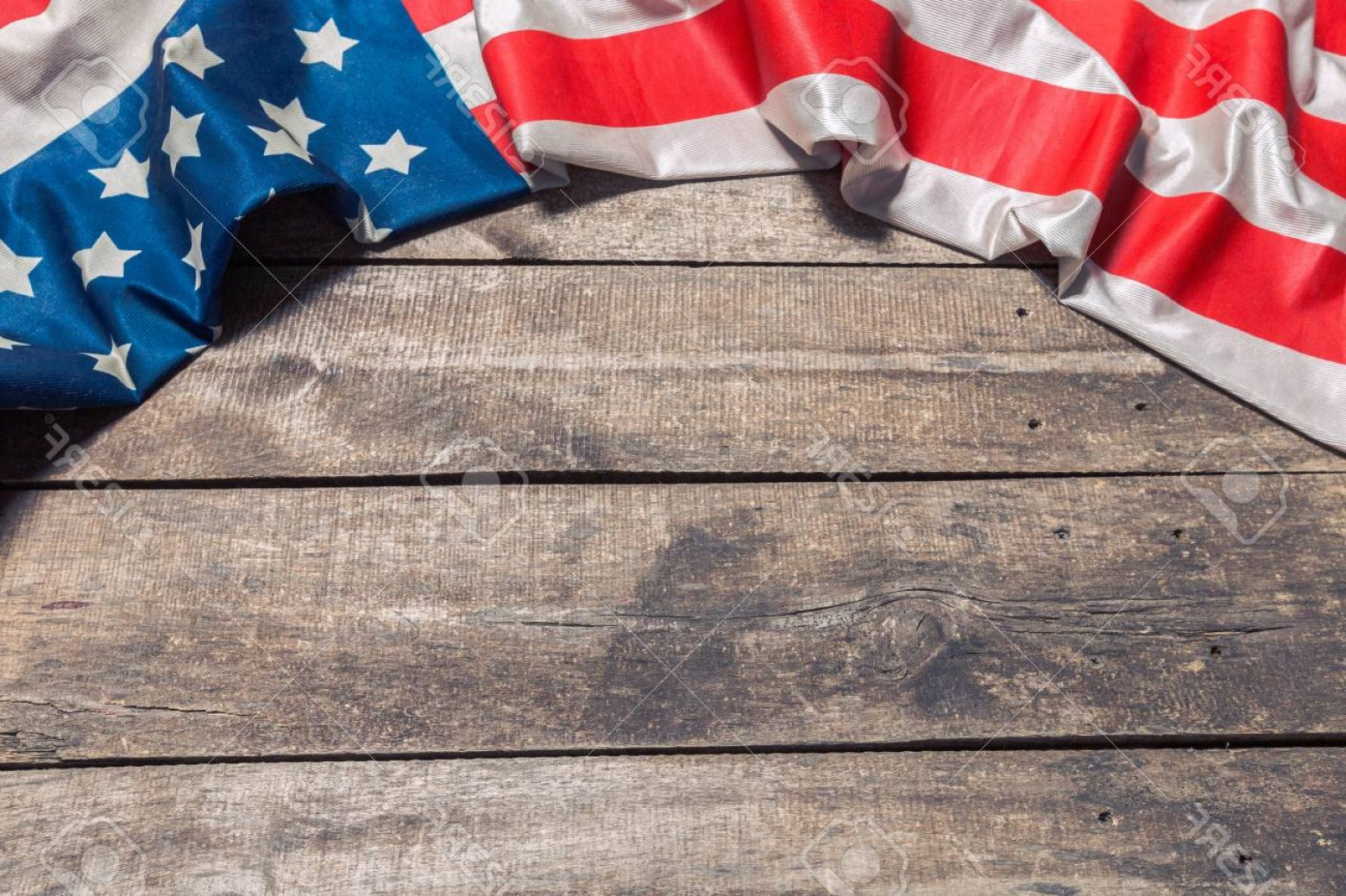 Rustic American Flag Vector: Photoan American Flag Lying On An Aged Weathered Rustic Wooden Background