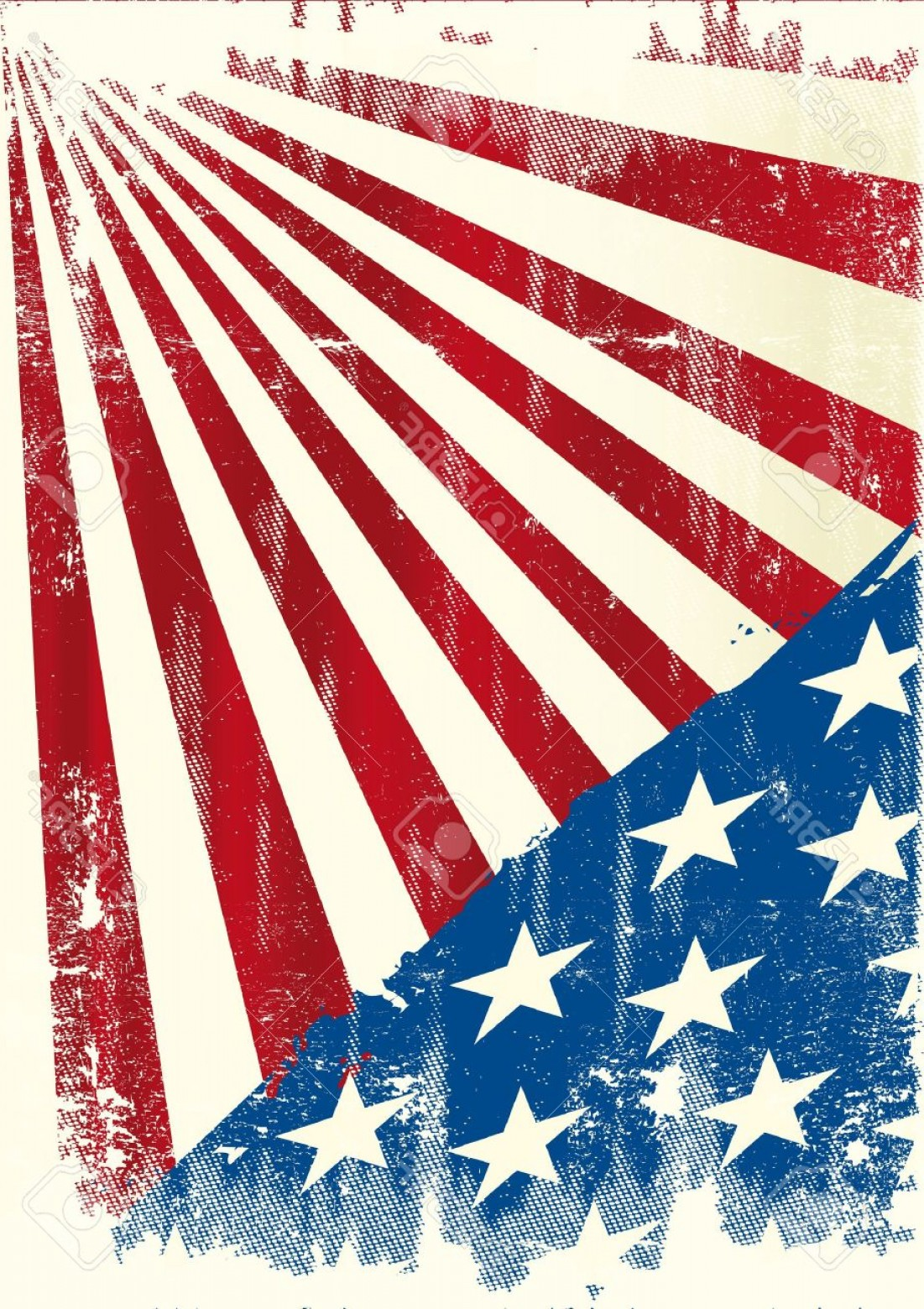 US Flag Vector Lines: Photoan American Grunge Background For A Poster