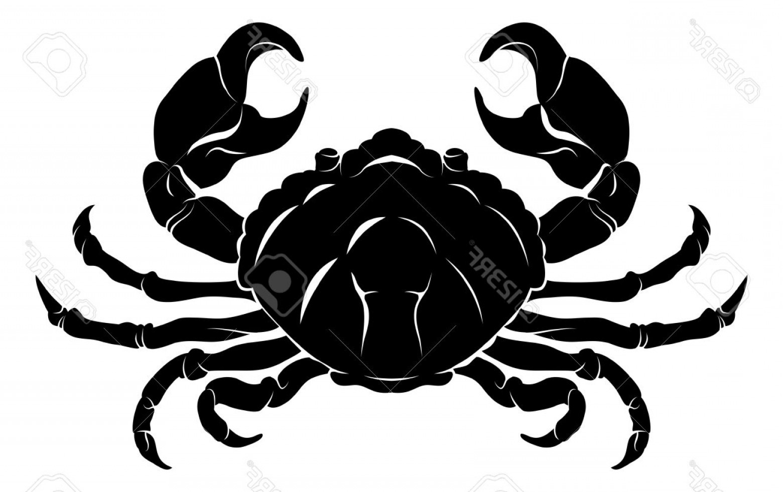 Crab Vector Black: Photoan Illustration Of A Stylised Black Crab Perhaps A Crab Tattoo