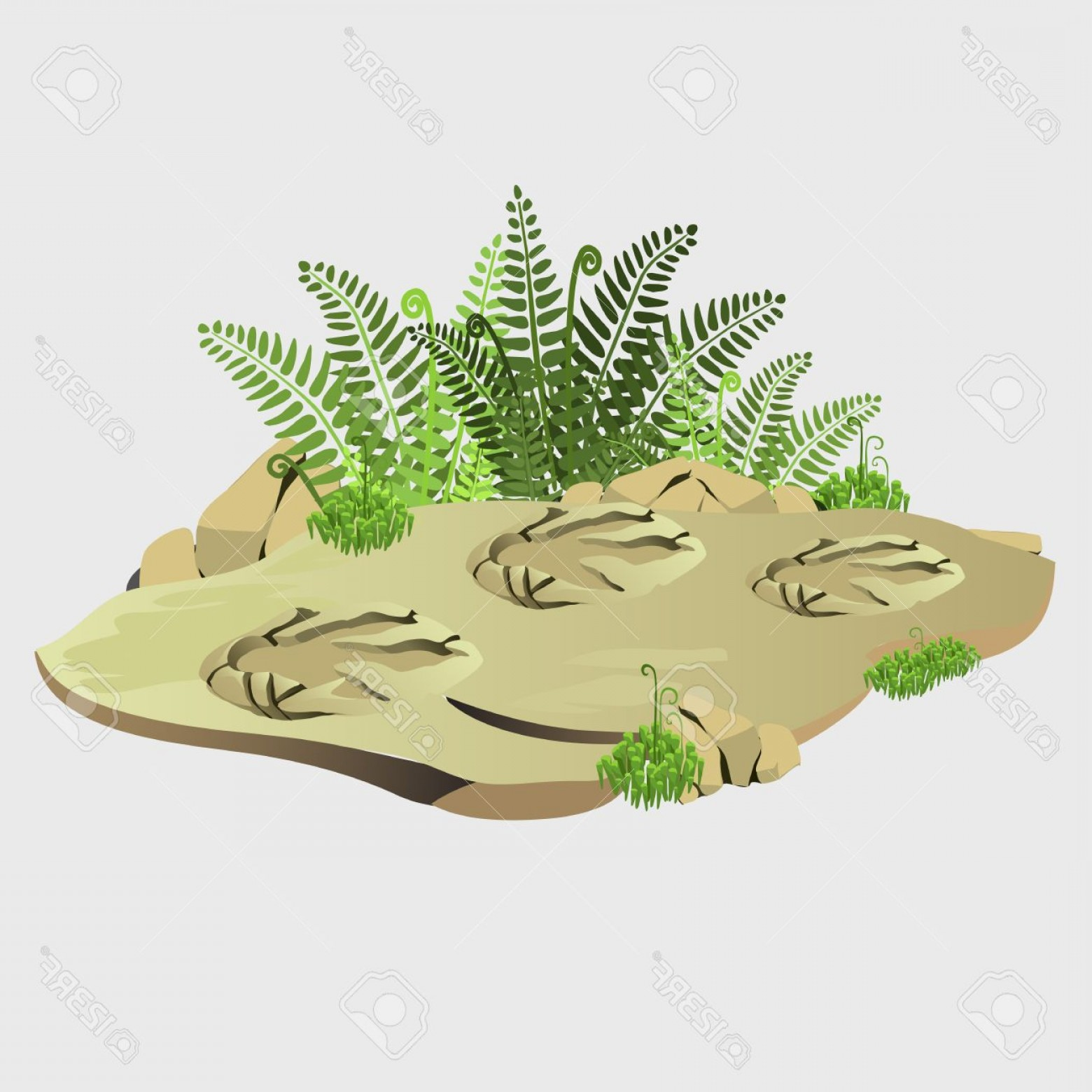 Geographic Leaf Vector: Photoancient Imprint Of Wild Animal On Earth Image Of Landscape For Research Geographic Or Adventure Desi
