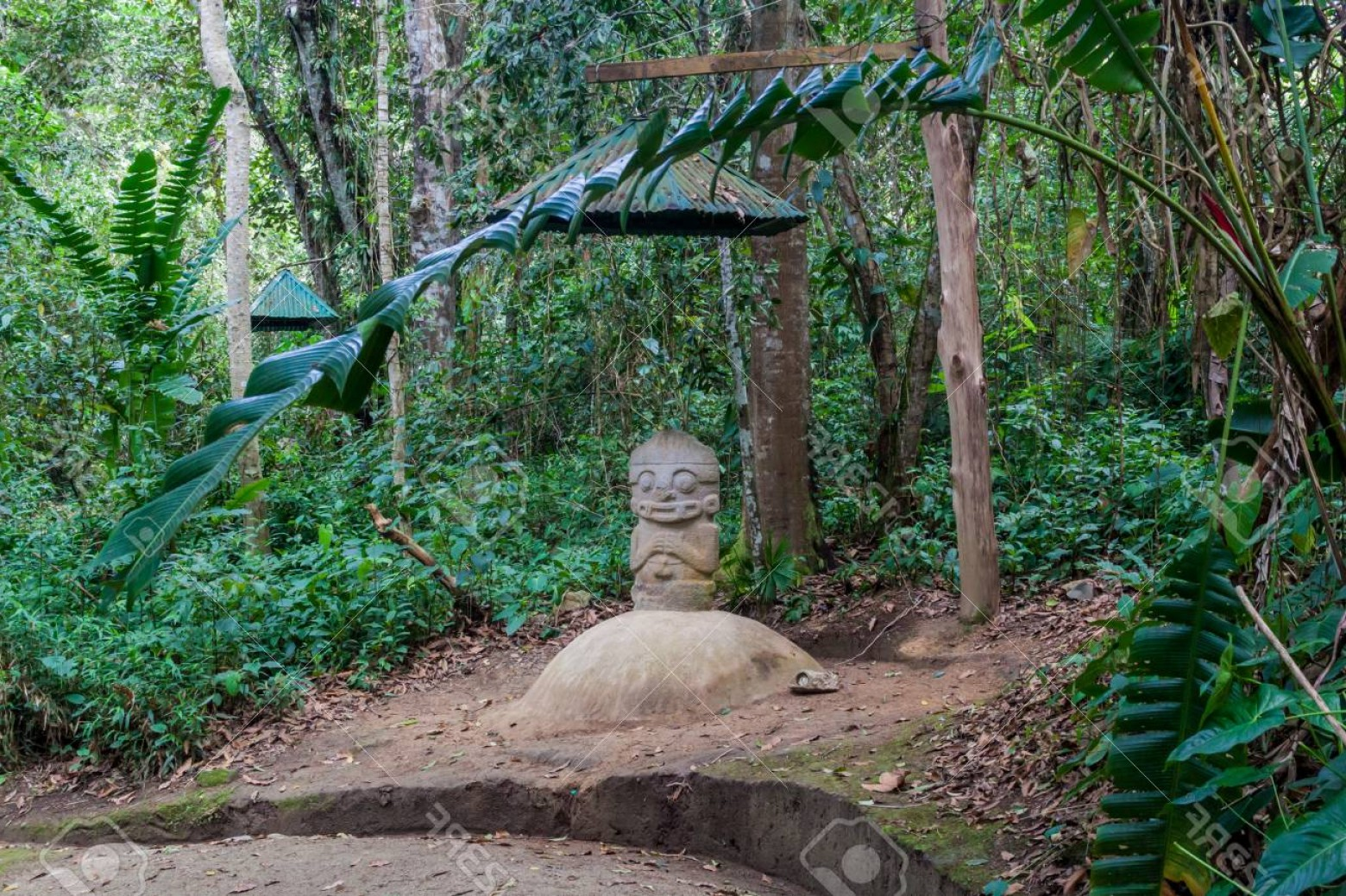 Ancient Jungle Statue Vector Images: Photoancient Statue In Archeological Park In San Agustin Colombia