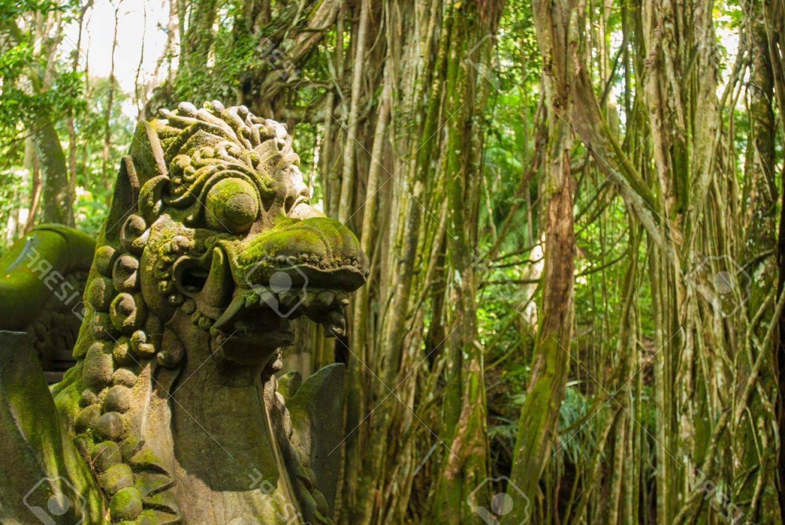 Ancient Jungle Statue Vector Images: Photoancient Stone Sculpture In The Balinese Jungle