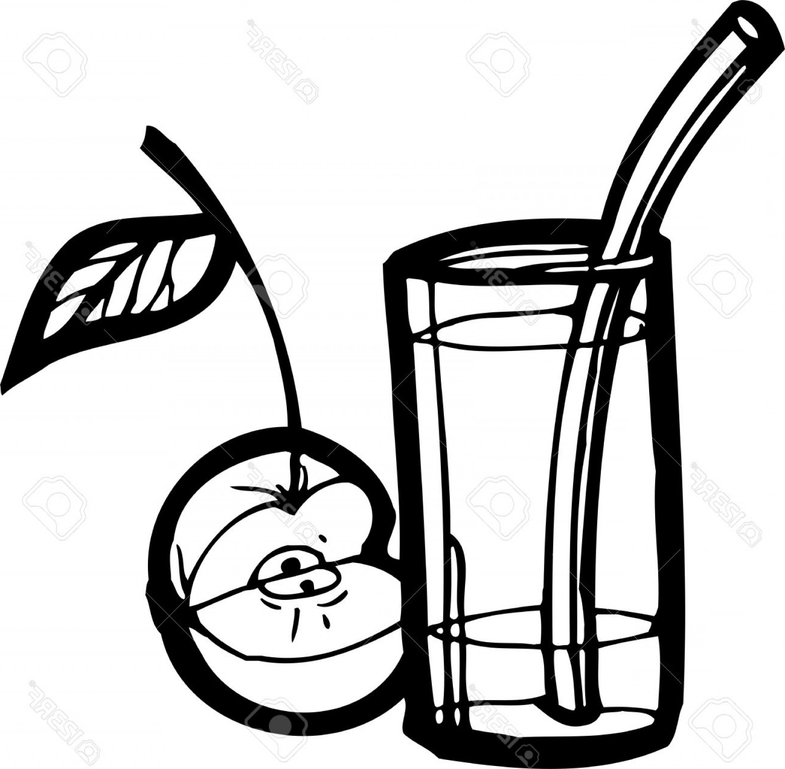 Juice Vector Black: Photoapple And Juice Fastfood Vector Illustration Ready For Vinyl Cutting