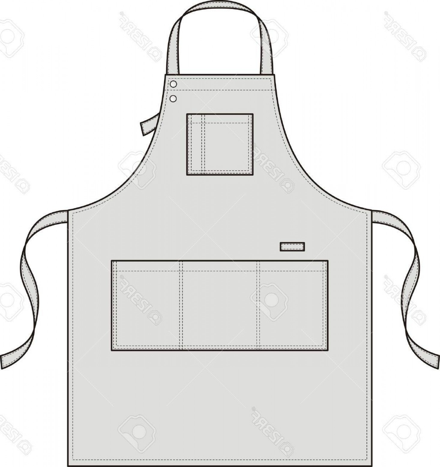 Apron Vector: Photoapron With Pockets A Shoulder Strap And A Belt
