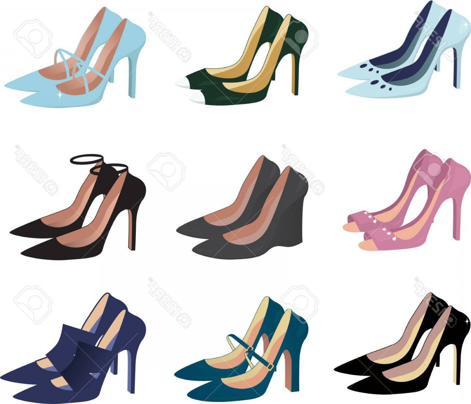 Silhouette Hee High Vector Lsitleetios: Photoassorted Women High Heel Shoes Isolated On White Vector Illustration