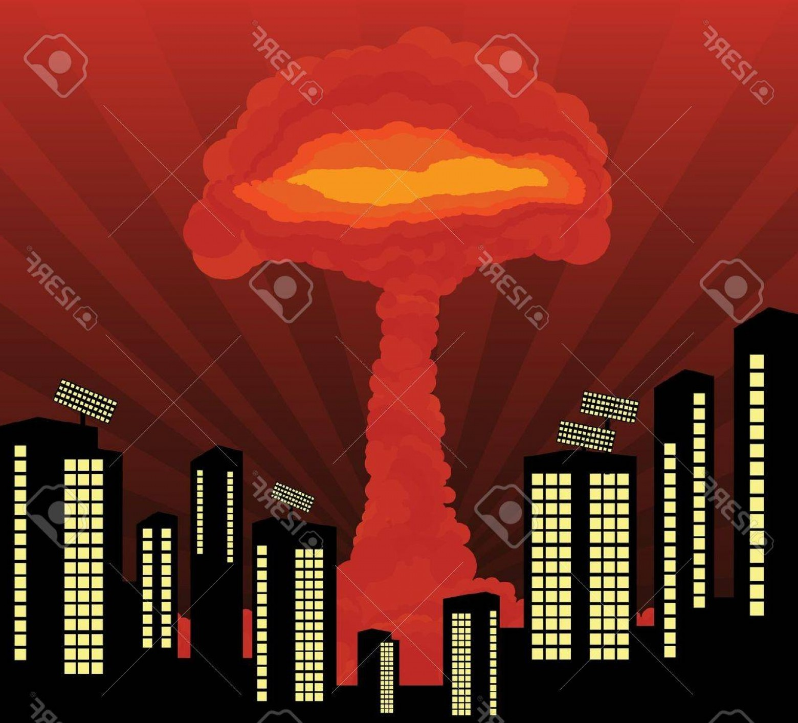 Atomic Vector Coud: Photoatomic Explosion Cloud Formed Mushroom In City Center Background
