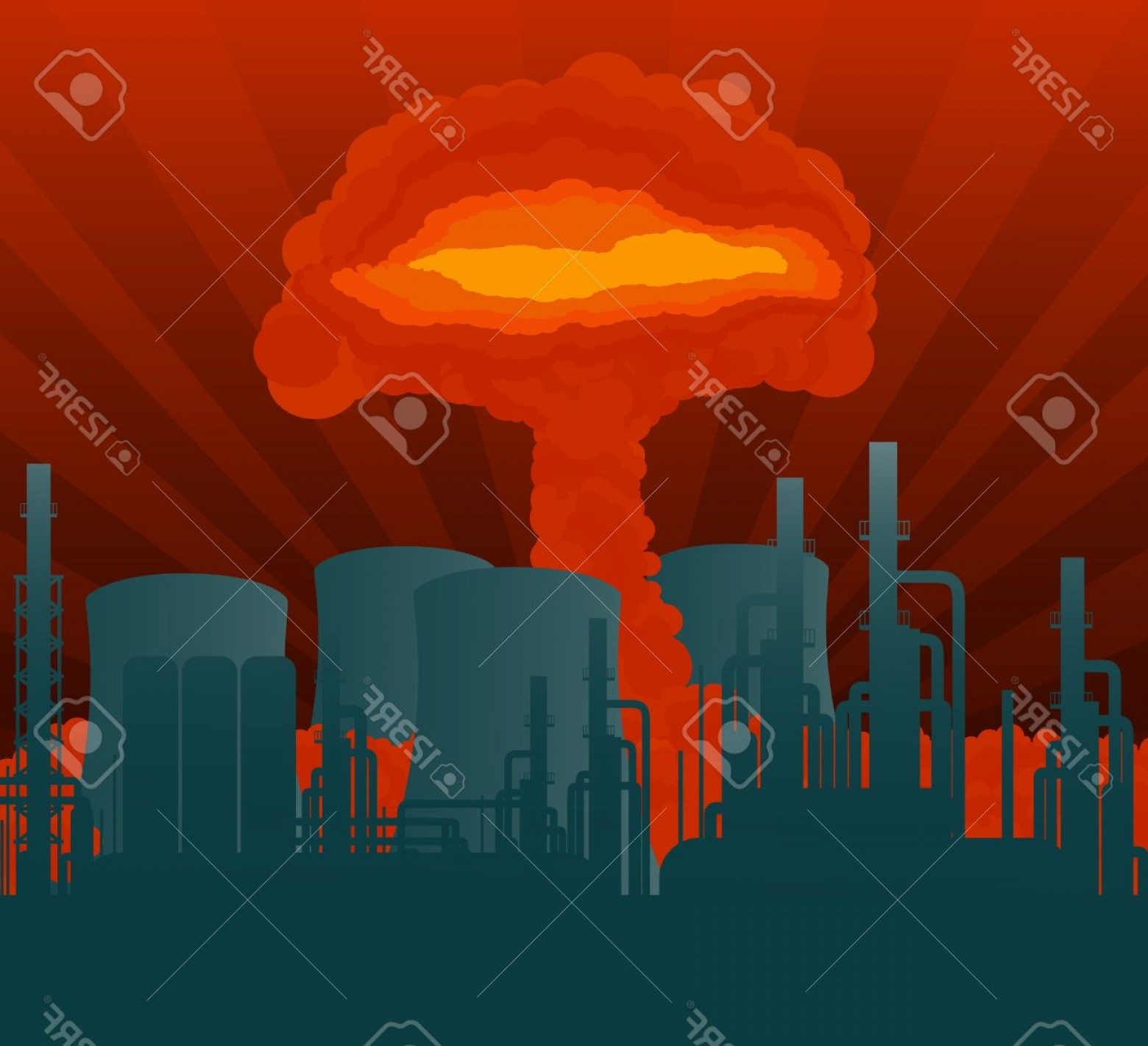 Atomic Vector Coud: Photoatomic Explosion Cloud Formed Mushroom Over Nuclear Power Plant Illustration
