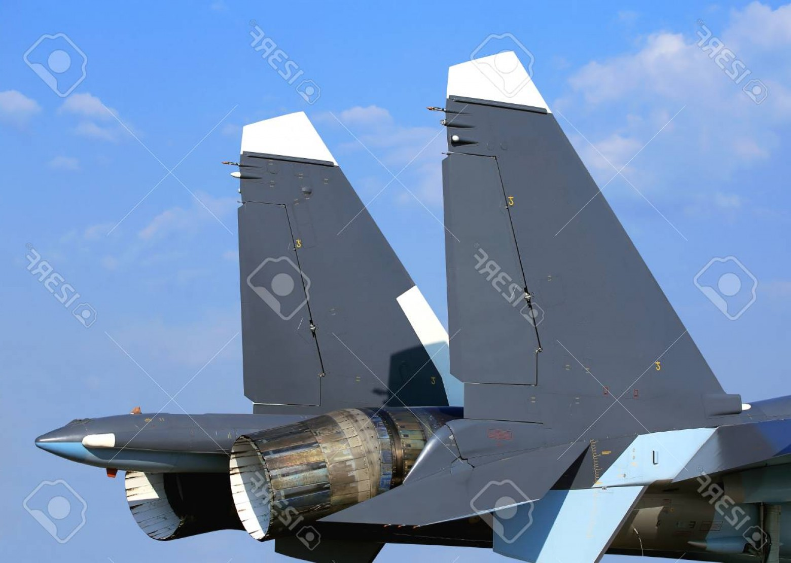 Thrust Vector Control: Photoback Of The Fighter With The Adjustable Jet Nozzle With Thrust Vector Control